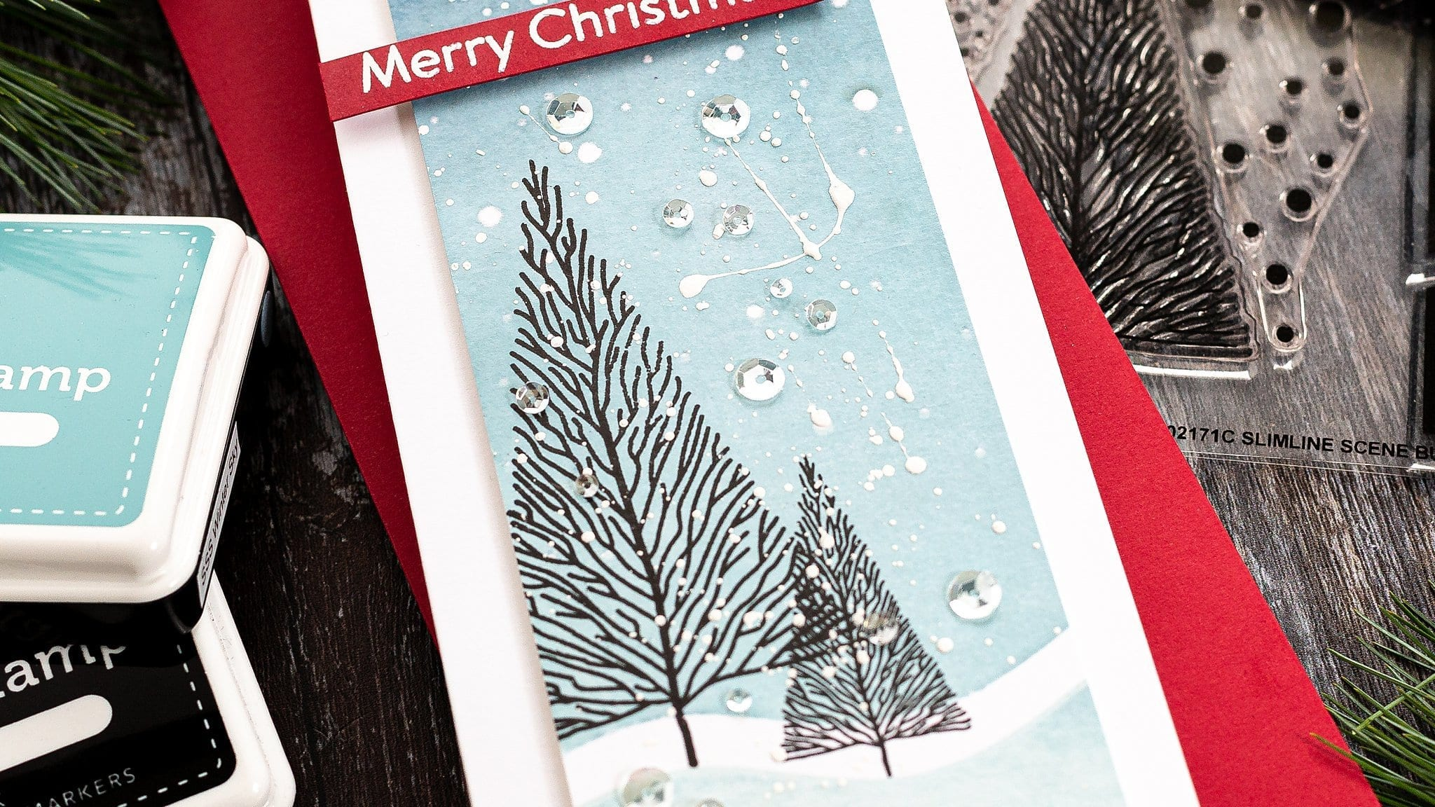 slimline Christmas handmade card tutorial by Debby Hughes using supplies from Simon Says Stamp #stamping #homemade #holiday