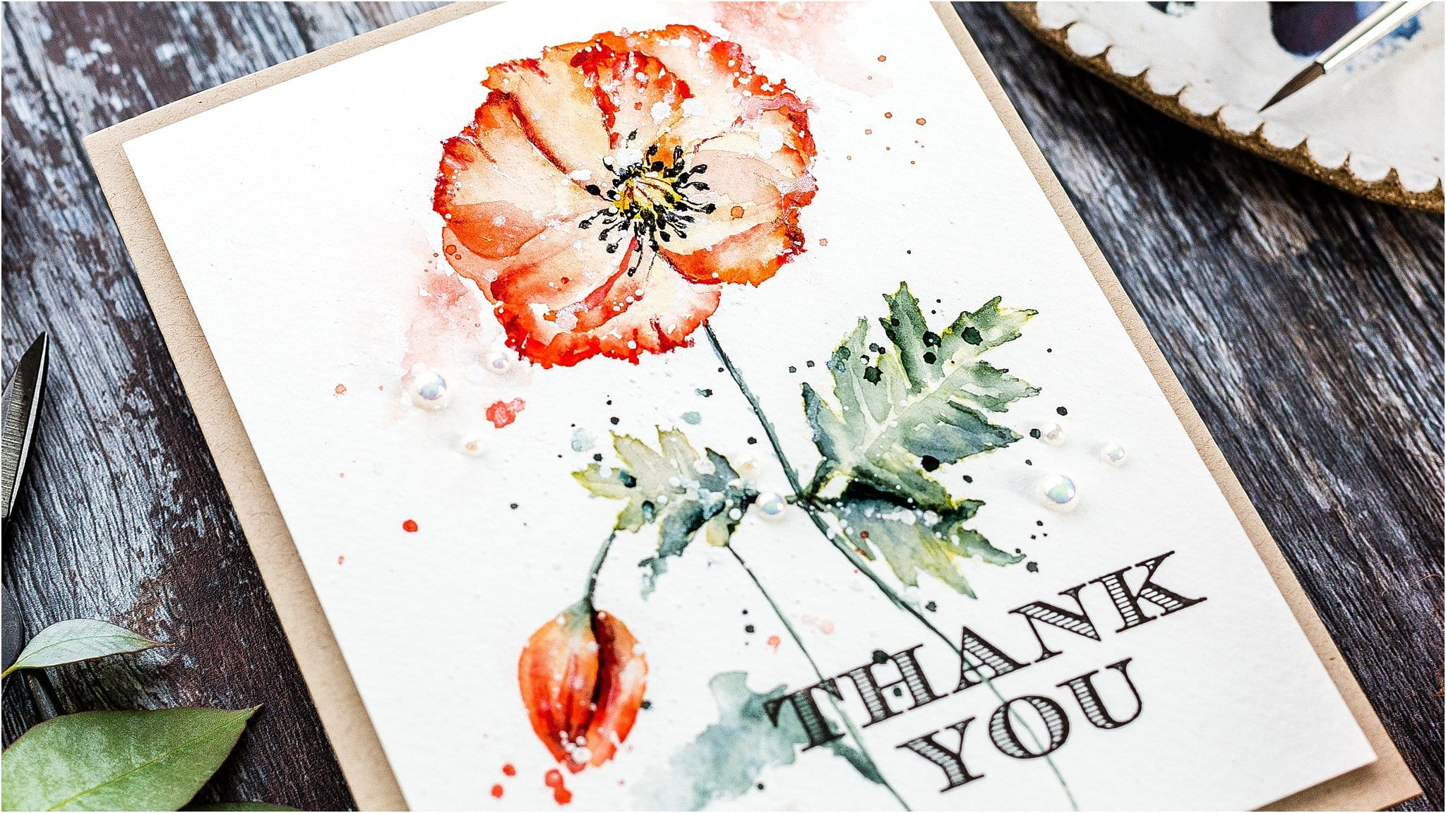 Video tutorial watercoloured poppy handmade card by Debby Hughes using supplies from Paper Rose #watercolor #homemade
