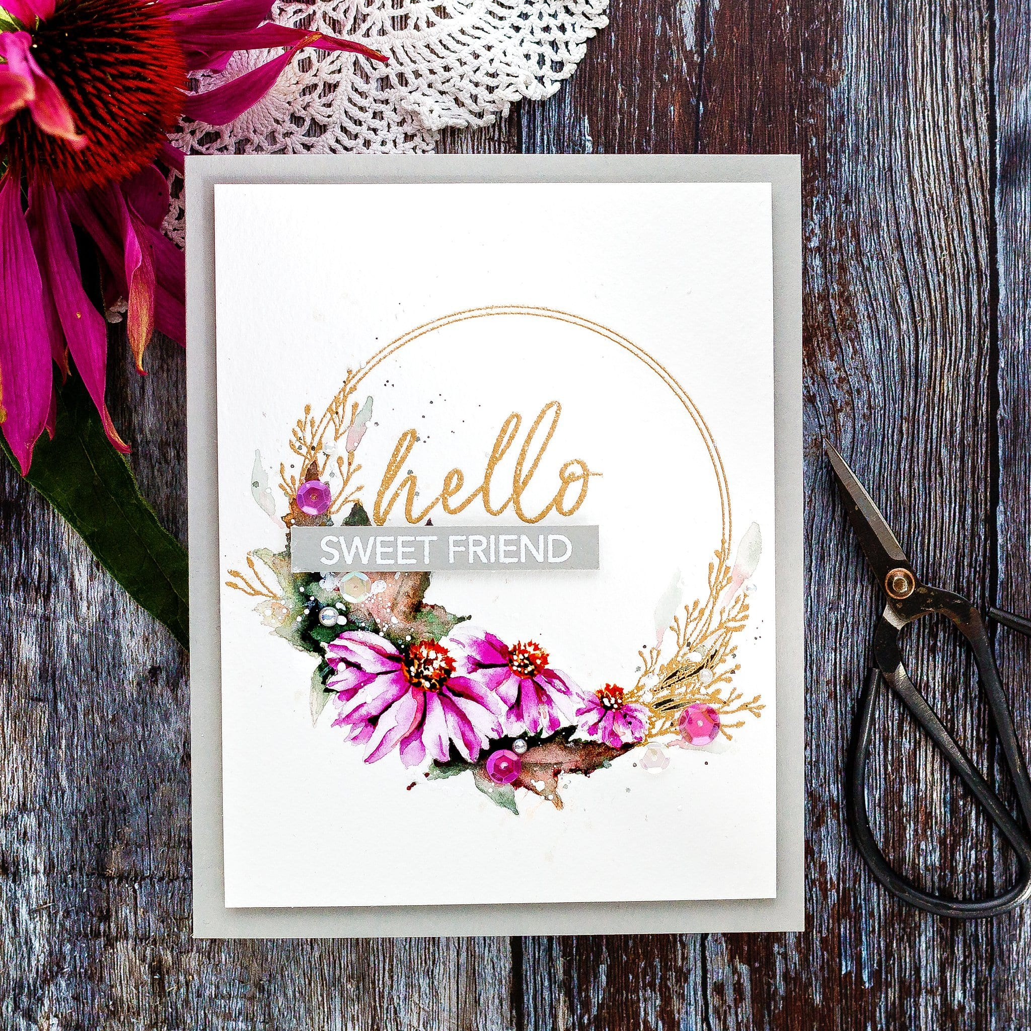 Watercoloured floral wreath handmade card tutorial by Debby Hughes using supplies from Honey Bee #watercolor #homemade