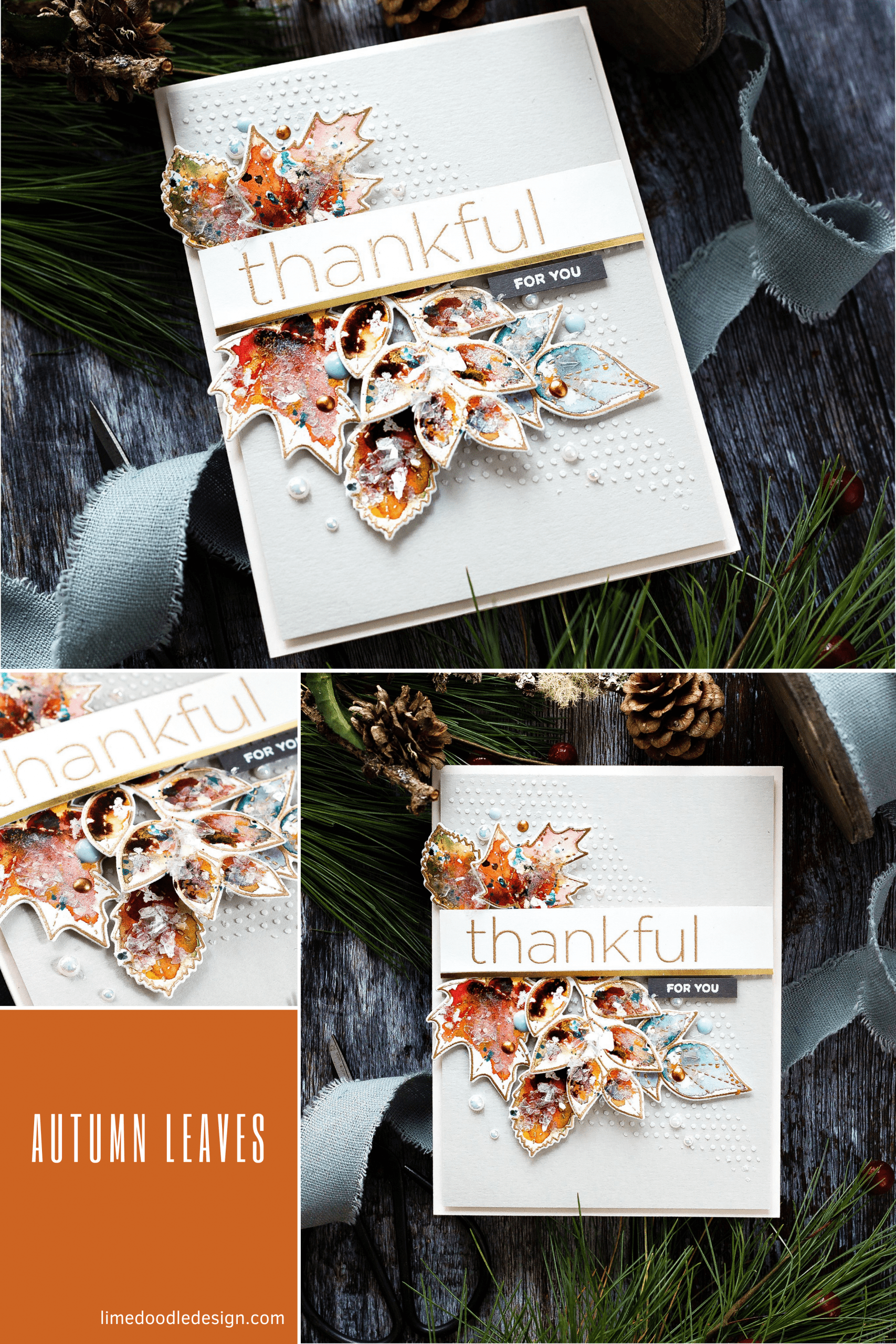 Watercoloured Fall leaves tutorial. Handmade Autumn card by Debby Hughes using supplies from Simon Says Stamp #watercolor #homemade