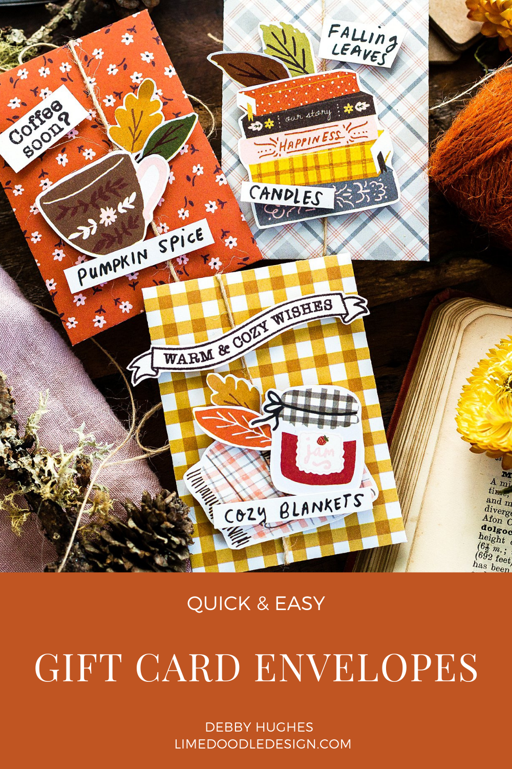 Quick and easy handmade fall gift card envelopes. Tutorial by Debby Hughes using supplies from Simon Says Stamp #homemade