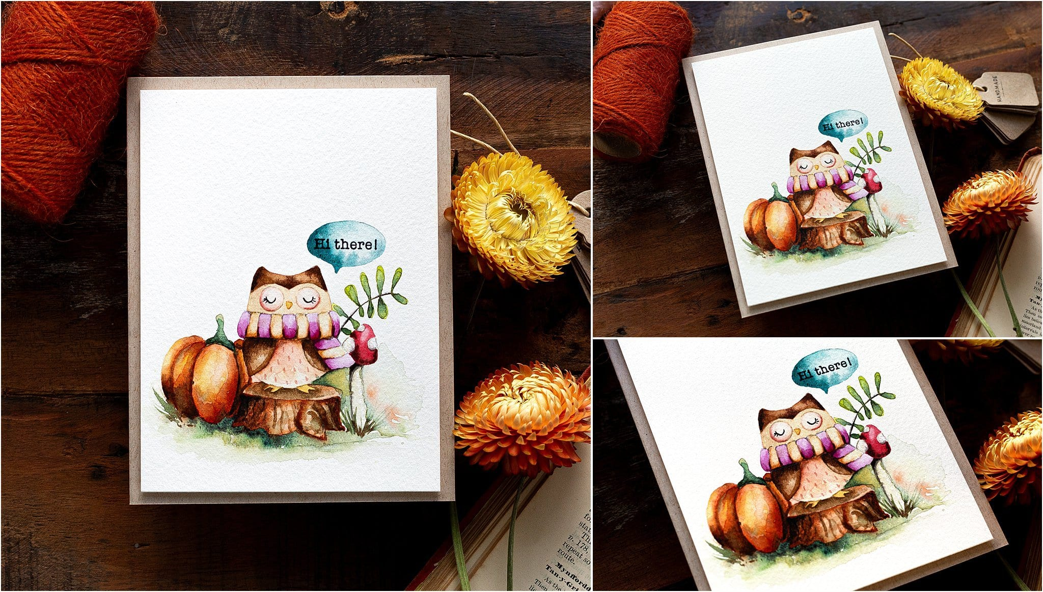Watercoloured fall handmade card tutorial by Debby Hughes using supplies from Simon Says Stamp #watercolor #homemade