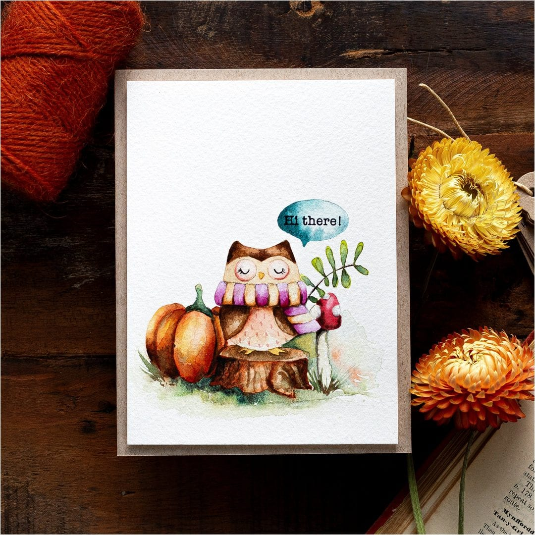 Watercoloured Fall Card + Quick & Easy Fall Gift Card Envelopes + Blog Hop