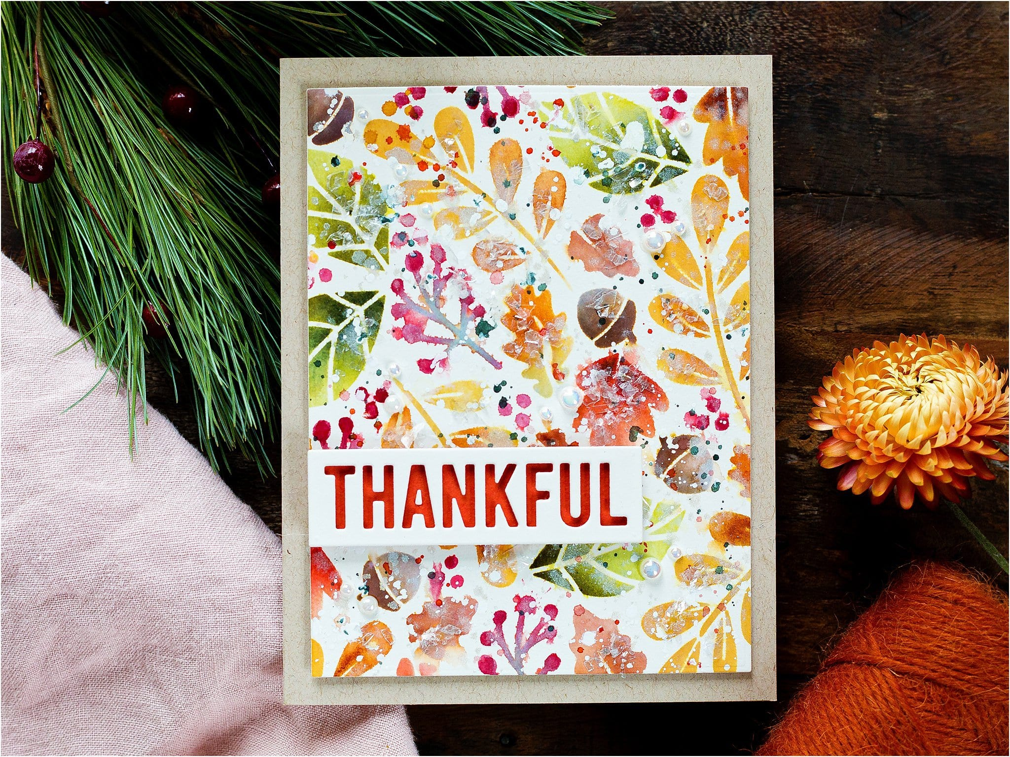 Video - Autumn leaves stencilled background handmade card tutorial by Debby Hughes using supplies from Simon Says Stamp #fall #homemade