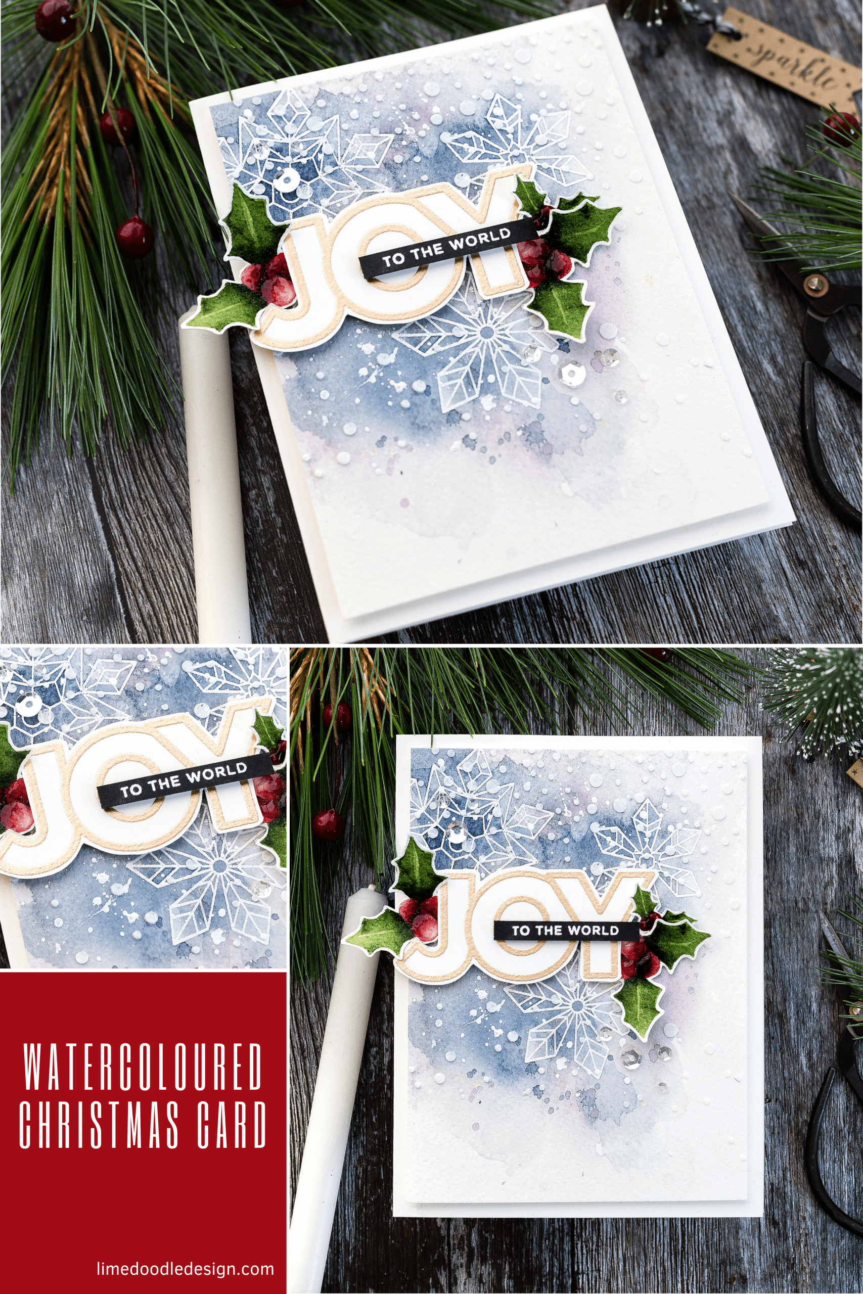 Watercoloured Christmas handmade card tutorial by Debby Hughes using supplies from Simon Says Stamp #watercolor #homemade