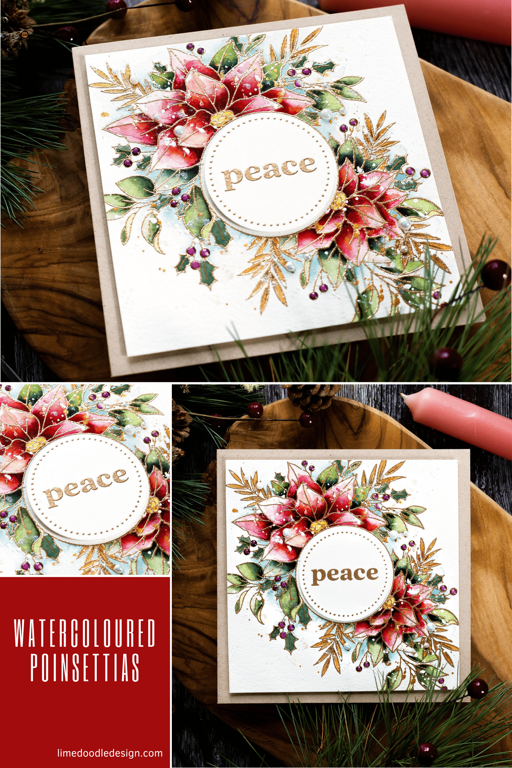 Watercoloured Christmas card tutorial. Handmade card by Debby Hughes using supplies from Simon Says Stamp #watercolor #homemade