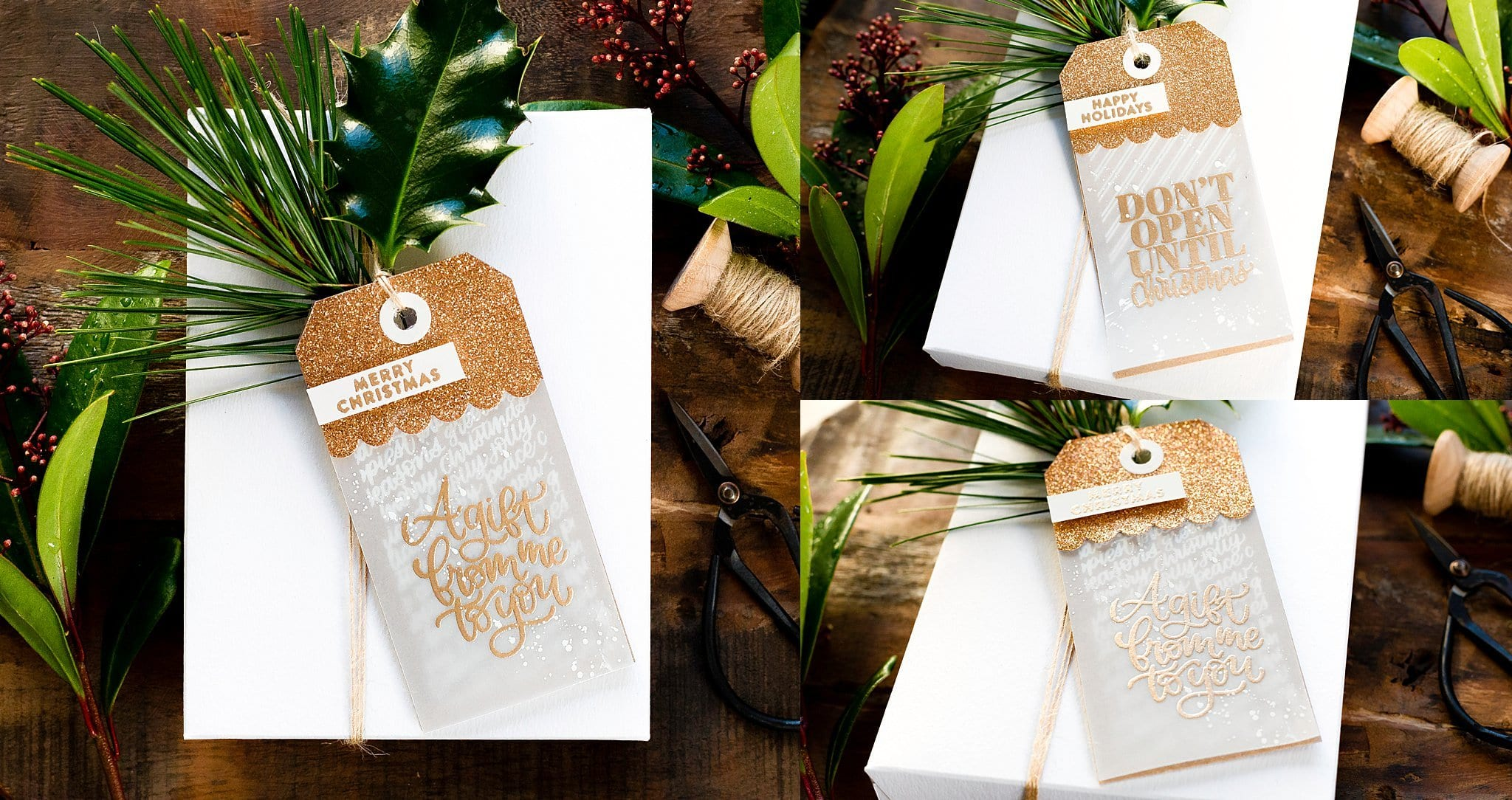 Video tutorial creating a couple of classic Christmas gift tags to take your Holiday wrapping up a notch! Handmade gift tags by Debby Hughes using supplies from Simon Says Stamp #handmadecards #cardmaking #cardmakingideas #cardmakingtechniques  #cardmakingtutorials #handmadecardideas #handmadechristmas #christmascrafts #navidad #noel #merrychristmas #diychristmas #christmascards #christmascardideas #simonsaysstamp