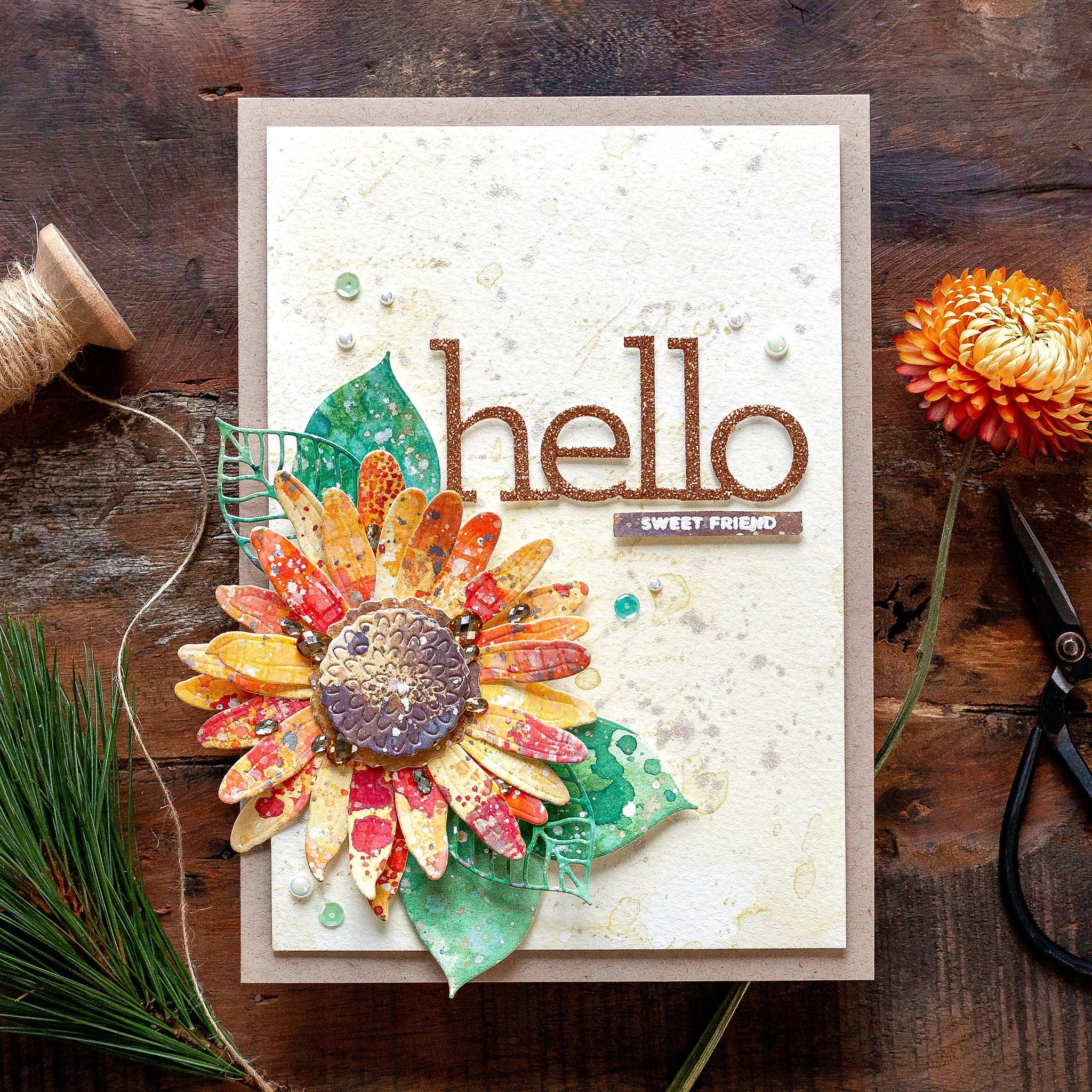 Video tutorial creating a die cut flower as a focal point for a handmade card! Design by Debby Hughes using supplies from Simon Says Stamp #handmadecards #cardmaking #cardmakingideas #cardmakingtechniques  #cardmakingtutorials #handmadecardideas #simonsaysstamp