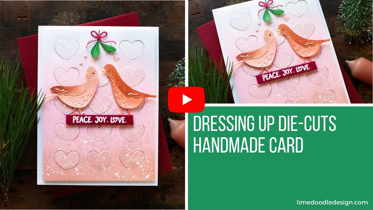 Video tutorial dressing up die-cuts on this cute Christmas card! Design by Debby Hughes using supplies from Simon Says Stamp #handmadecards #cardmaking #cardmakingideas #cardmakingtechniques  #cardmakingtutorials #handmadecardideas #simonsaysstamp #handmadechristmas #christmascrafts #navidad #noel #merrychristmas #diychristmas #christmascards #christmascardideas