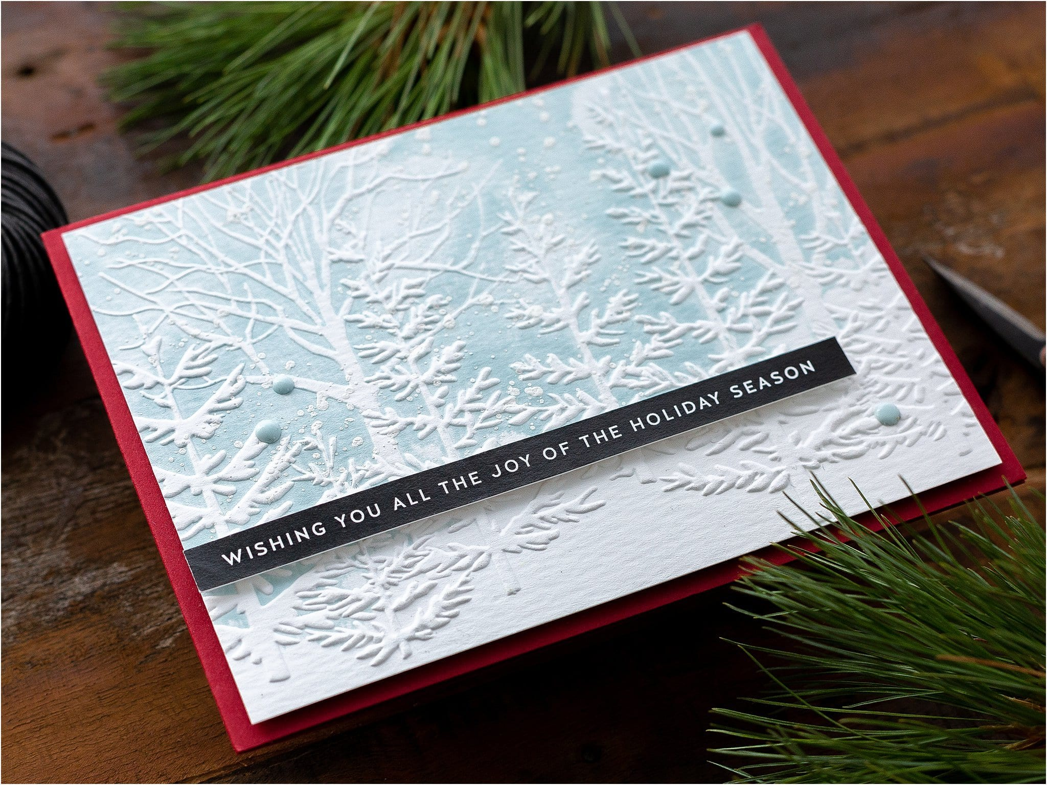 Video - easy embossing folder handmade Christmas card tutorial by Debby Hughes using supplies from Simon Says Stamp #handmadecards