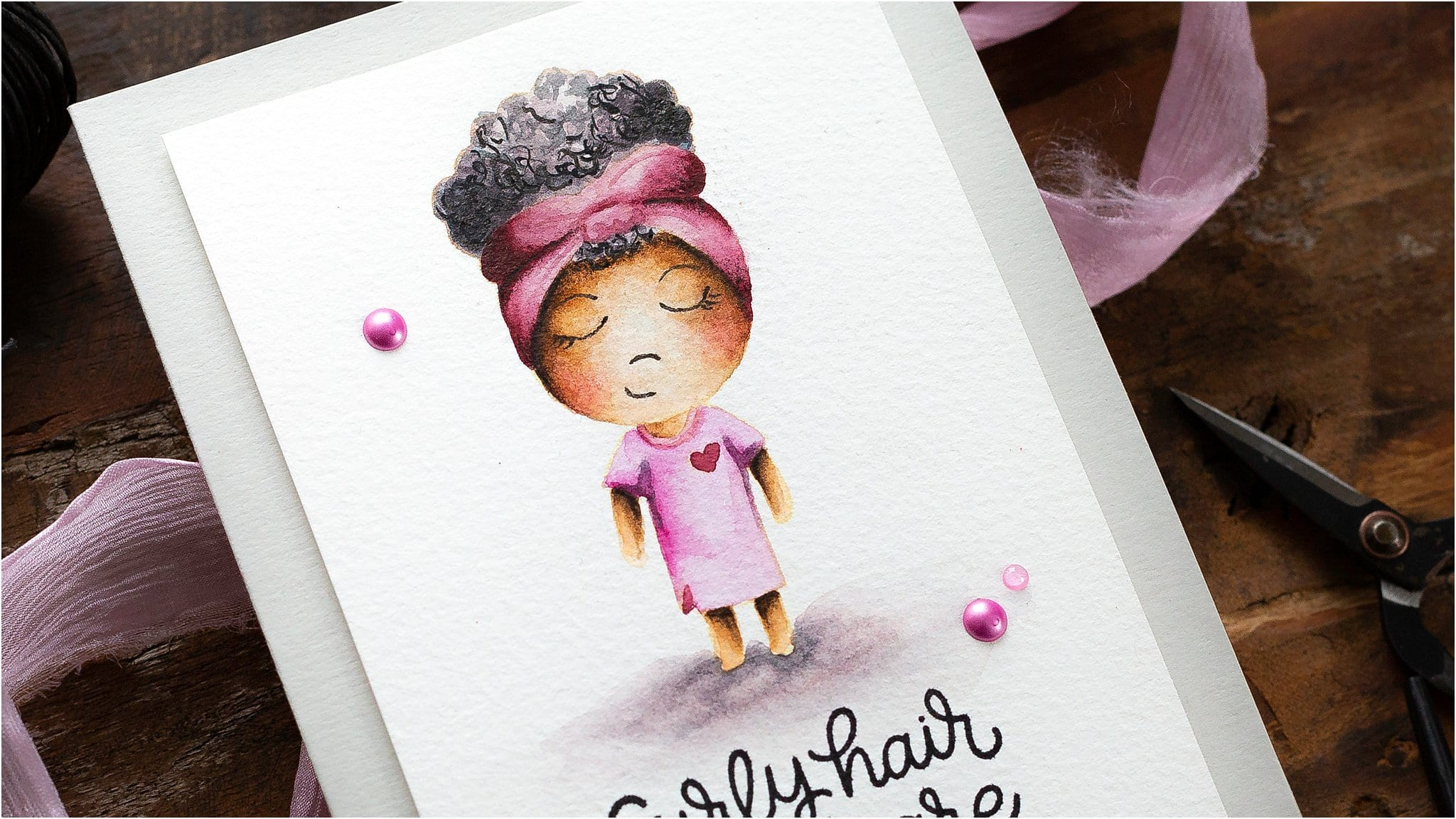 Video tutorial watercolouring curly hair for this handmade affirmative self care card by Debby Hughes using supplies from Simon Says Stamp #watercolor #homemade