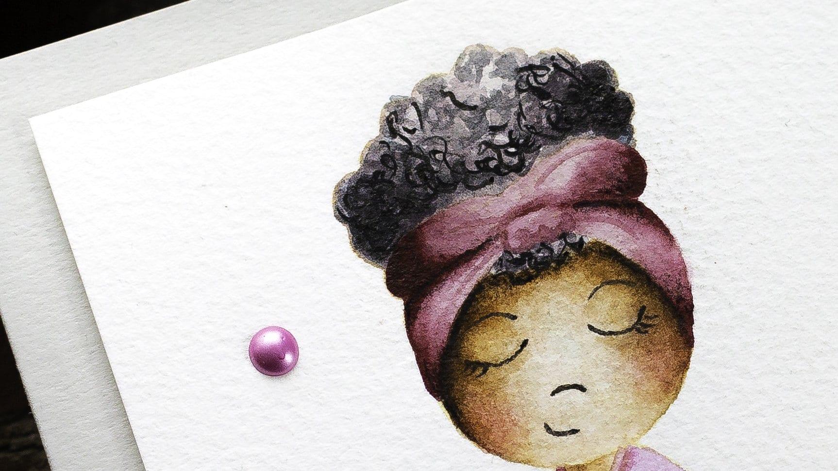 Sneak peek - video watercolouring curly hair handmade card tutorial by Debby Hughes using supplies from Simon Says Stamp #handmadecards
