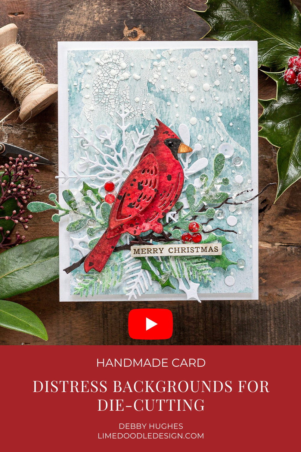 Video tutorial creating Tim Holtz Distress backgrounds for die-cutting by Debby Hughes using supplies from Tim Holtz and Simon Says Stamp #handmadecards #cardmaking #cardmakingideas #cardmakingtechniques  #cardmakingtutorials #handmadecardideas #handmadechristmas #christmascrafts #navidad #noel #merrychristmas #diychristmas #christmascards #christmascardideas #simonsaysstamp