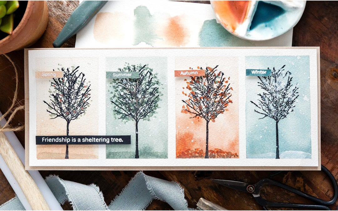Four Seasons Watercoloured Trees + Blog Hop + Giveaway