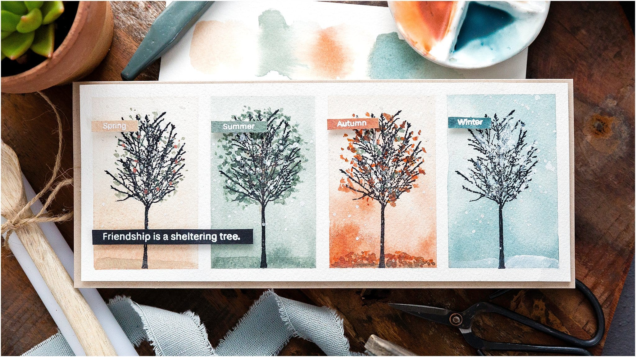Four Seasons Watercoloured Trees + Blog Hop + Giveaway