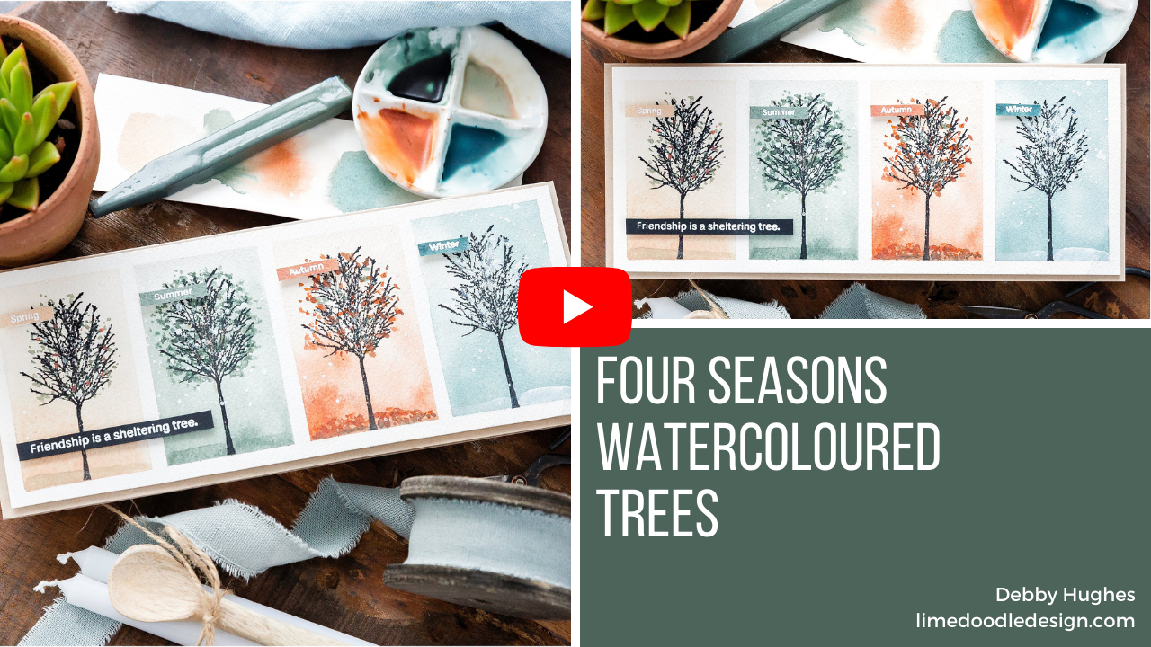 Video tutorial - four seasons watercoloured trees handmade card by Debby Hughes using supplies from Simon Says Stamp #handmadecards #cardmaking #cardmakingideas #cardmakingtechniques  #cardmakingtutorials #handmadecardideas #simonsaysstamp