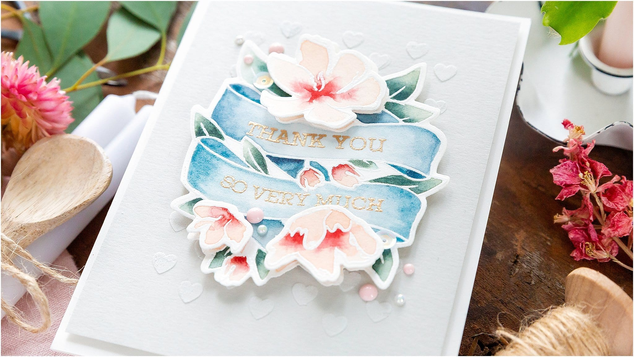 Video tutorial - watercoloured floral banner handmade card by Debby Hughes using supplies from Simon Says Stamp #handmadecards #cardmaking #cardmakingideas #cardmakingtechniques  #cardmakingtutorials #handmadecardideas #simonsaysstamp