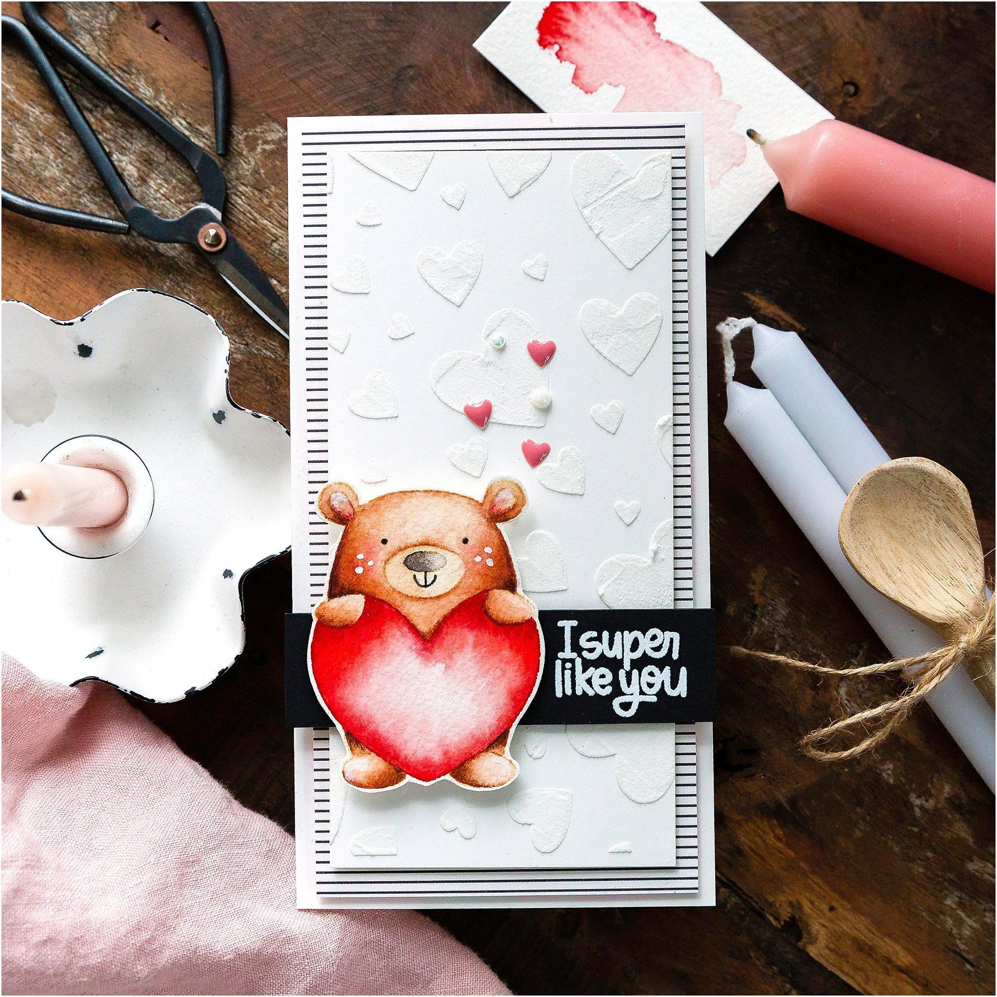Video tutorial creating a cute mini slimline handmade Valentine's card by Debby Hughes #debbyhughes #limedoodledesign #handmadecards #cardmaking #cardmakingideas #cardmakingtechniques  #cardmakingtutorials #handmadecardideas #simonsaysstamp