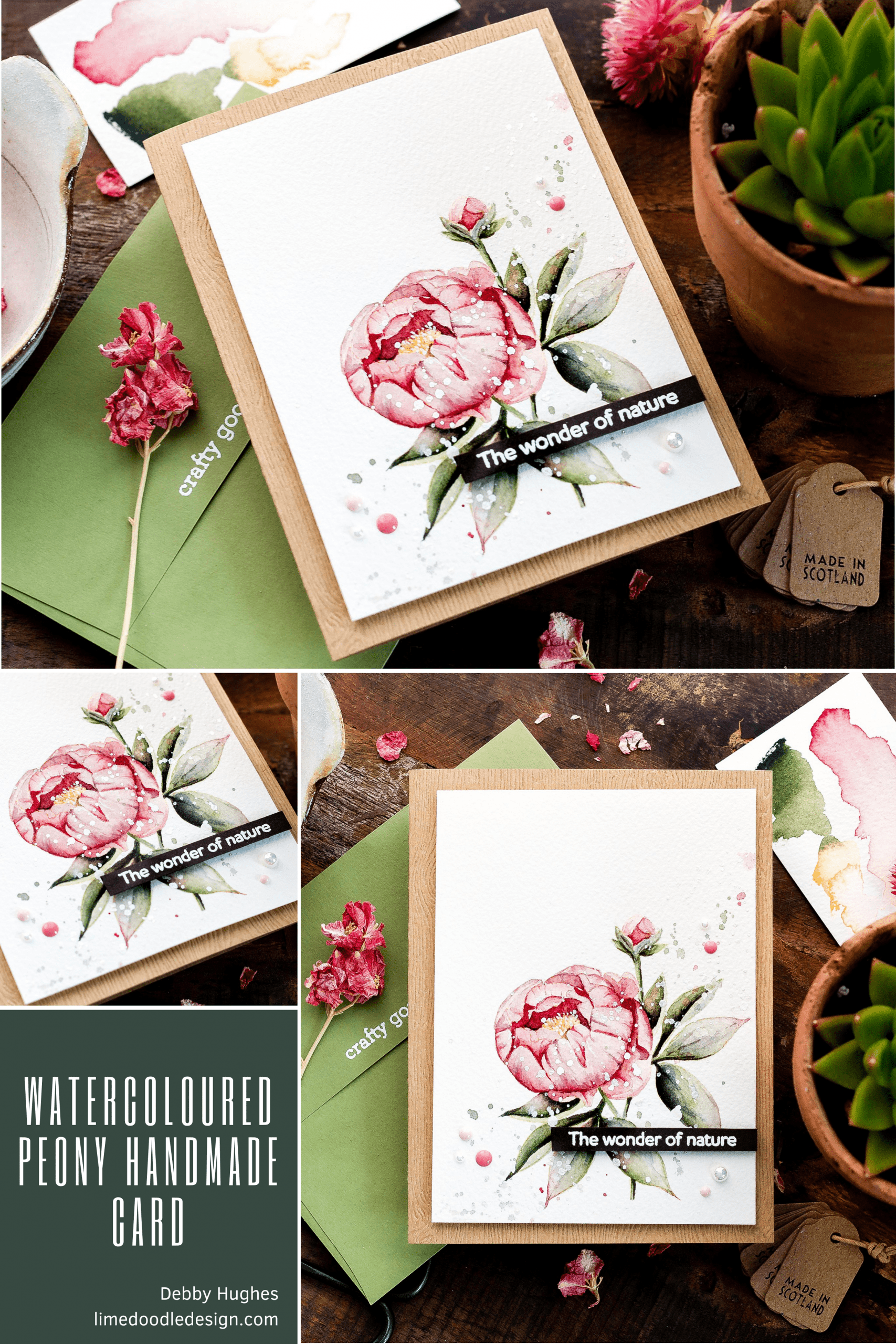 Video tutorial watercolouring a peony flower as a focal point for a handmade card! Design by Debby Hughes using supplies from Simon Says Stamp #handmadecards #cardmaking #cardmakingideas #cardmakingtechniques  #cardmakingtutorials #handmadecardideas #simonsaysstamp