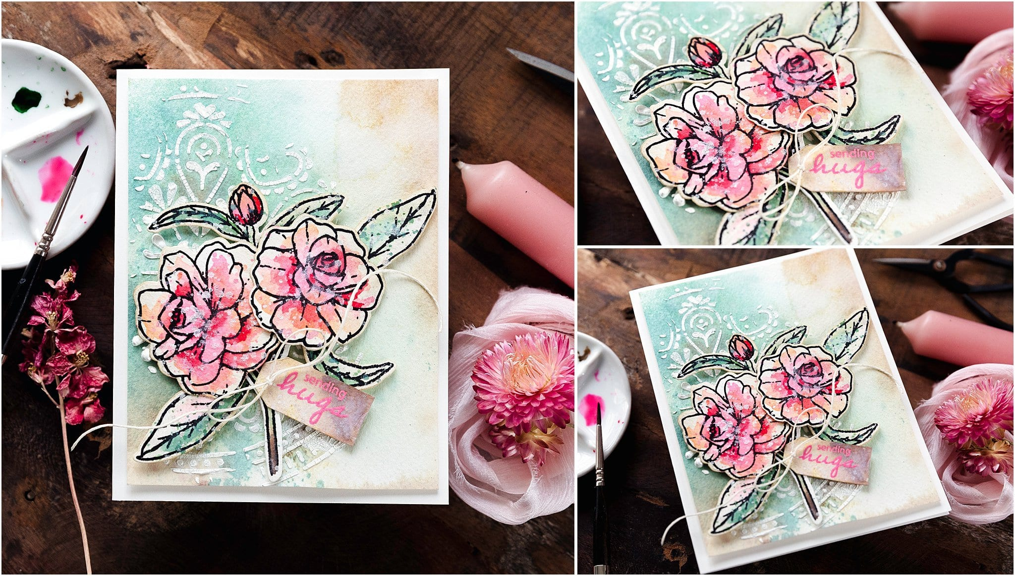 Video tutorial taking a first look at Tim Holtz's Kitsch Flamingo Distress colour. Handmade card by Debby Hughes #debbyhughes #limedoodledesign #handmadecards #cardmaking #cardmakingideas #cardmakingtechniques  #cardmakingtutorials #handmadecardideas #simonsaysstamp
