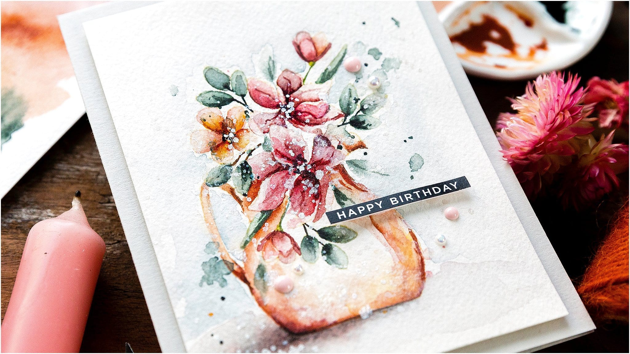 Video tutorial - how to loosely watercolour flowers from stamped images. Handmade card by Debby Hughes #debbyhughes #limedoodledesign #handmadecards #cardmaking #cardmakingideas #cardmakingtechniques  #cardmakingtutorials #handmadecardideas #simonsaysstamp