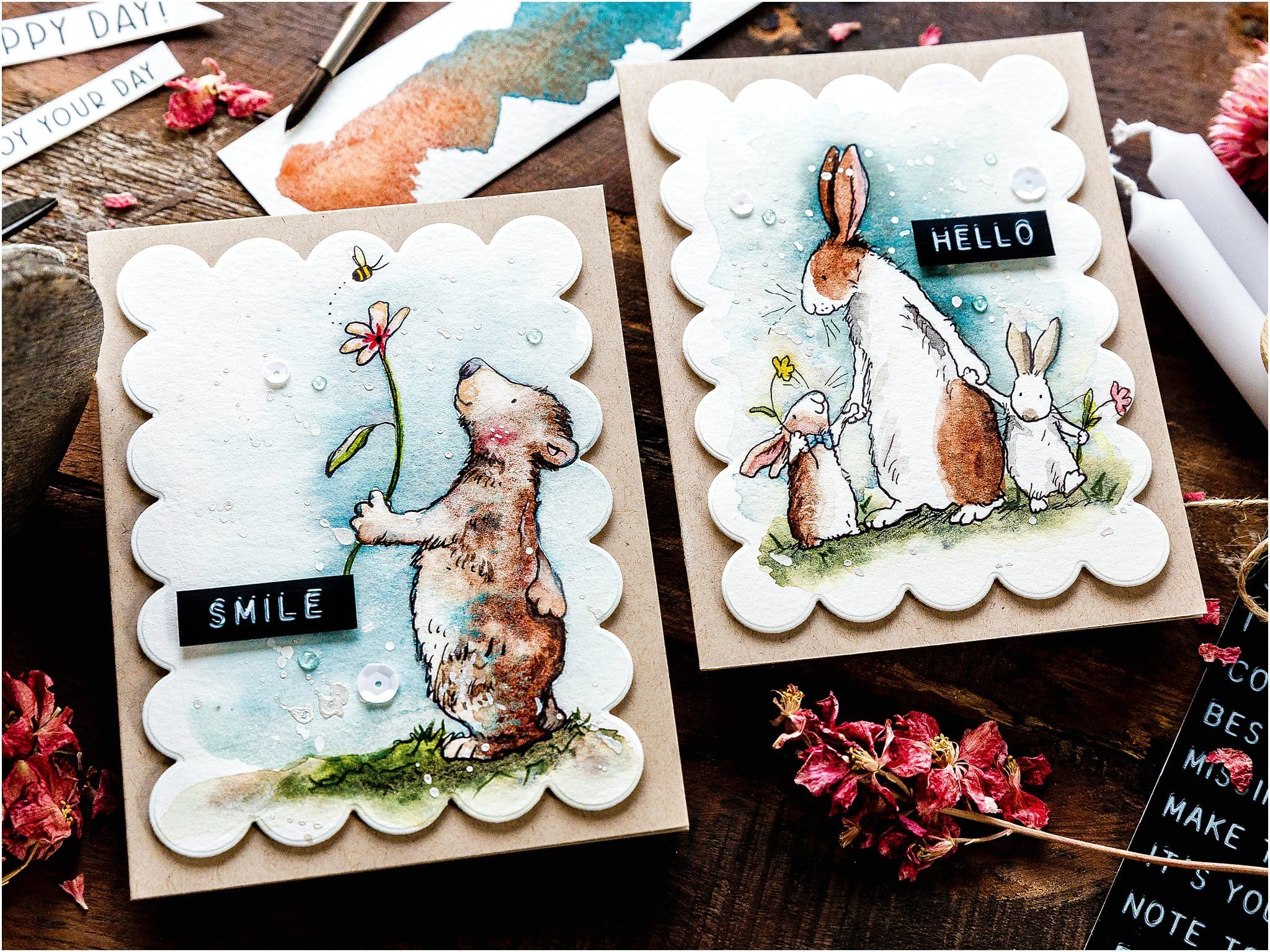 Video tutorial - watercoloured children's illustrations by Anita Jeram for handmade cards! Design by Debby Hughes using supplies from Colorado Craft Company #handmadecards #cardmaking #cardmakingideas #cardmakingtechniques  #cardmakingtutorials #handmadecardideas #coloradocraftcompany