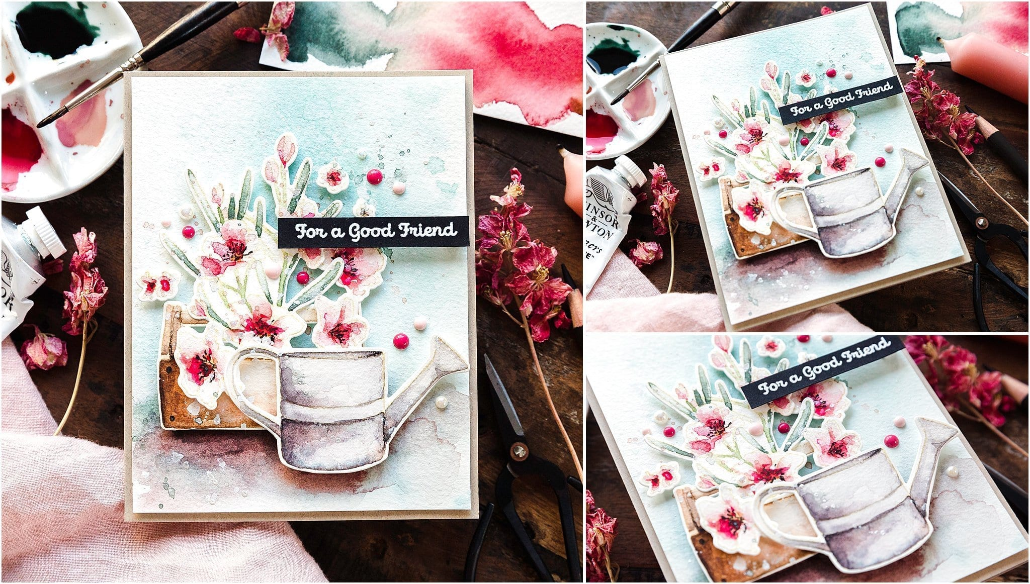 Video tutorial - watercoloured flower garden, handmade card by Debby Hughes using supplies from Simon Says Stamp #debbyhughes #limedoodledesign #handmadecards #cardmaking #cardmakingideas #cardmakingtechniques  #cardmakingtutorials #handmadecardideas #simonsaysstamp