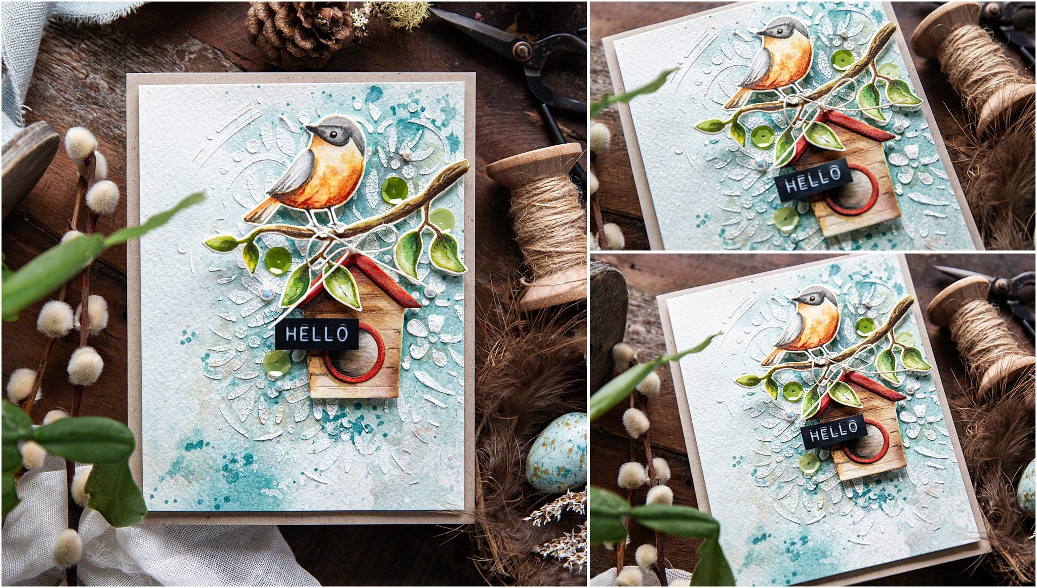 Video tutorial watercolouring a spring bird scene with Distress Inks for a handmade card! Design by Debby Hughes using supplies from Simon Says Stamp #handmadecards #cardmaking #cardmakingideas #cardmakingtechniques  #cardmakingtutorials #handmadecardideas #simonsaysstamp