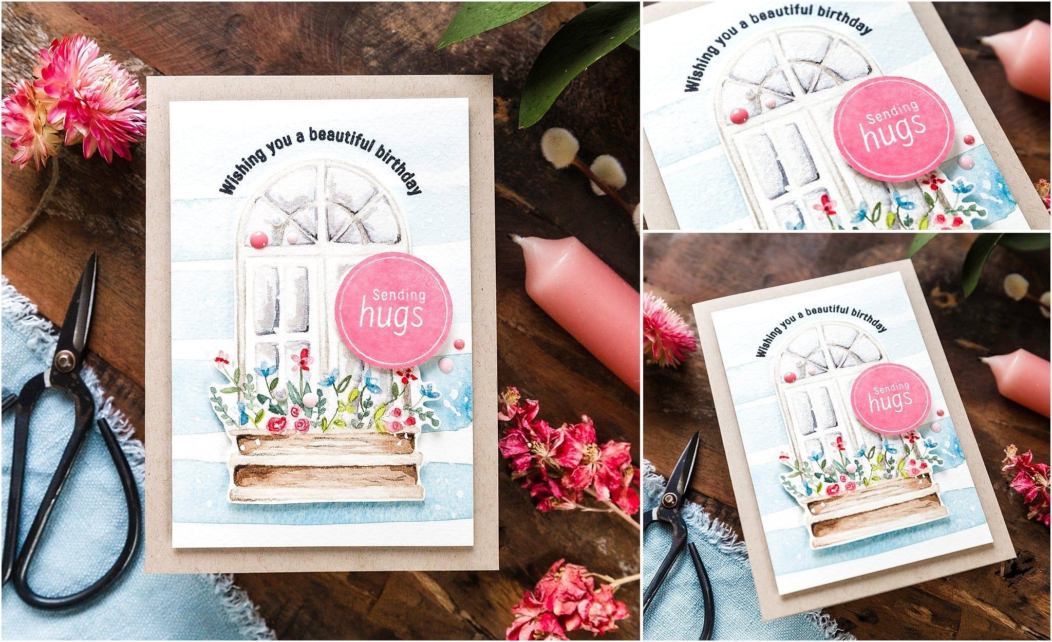 Video tutorial - watercoloured spring window. Handmade card by Debby Hughes #debbyhughes #limedoodledesign #handmadecards #cardmaking #cardmakingideas #cardmakingtechniques  #cardmakingtutorials #handmadecardideas #simonsaysstamp