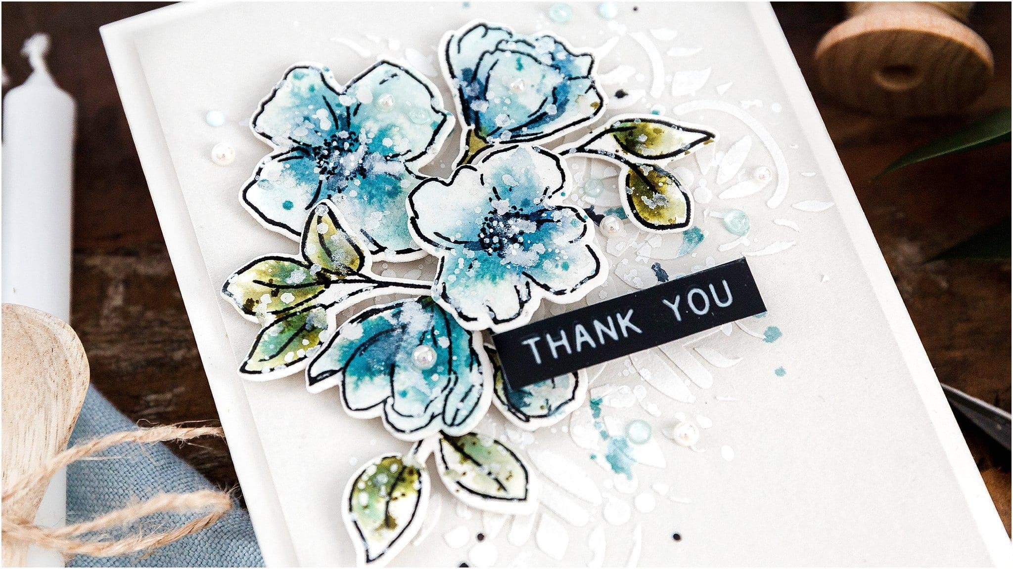 Video - watercoloured stamped flowers using Distress Inks. Handmade card by Debby Hughes #debbyhughes #limedoodledesign #handmadecards #cardmaking #cardmakingideas #cardmakingtechniques  #cardmakingtutorials #handmadecardideas #simonsaysstamp