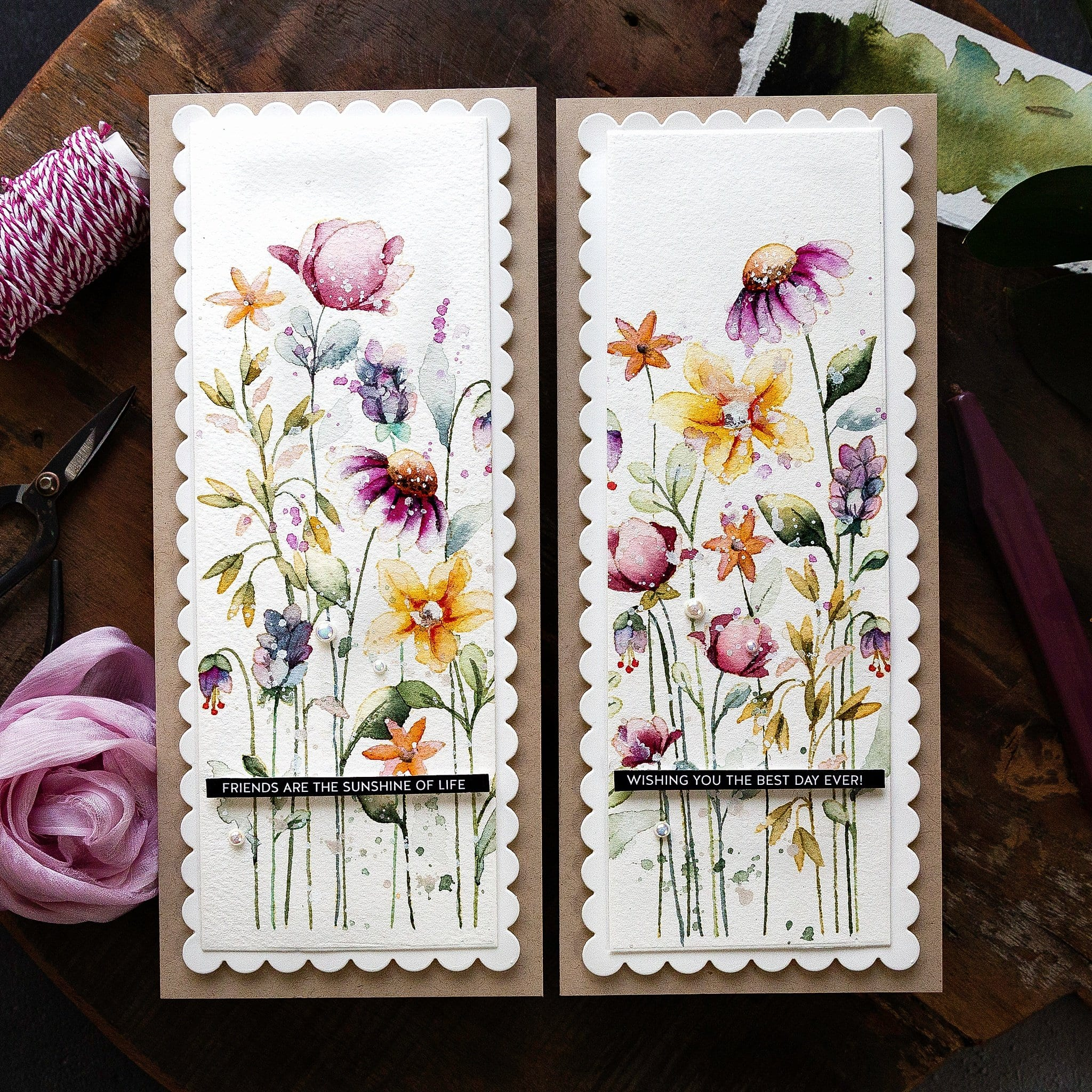 Video tutorial - watercoloured wildflower two-for-one handmade cards! Design by Debby Hughes using supplies from Simon Says Stamp #handmadecards #cardmaking #cardmakingideas #cardmakingtechniques  #cardmakingtutorials #handmadecardideas #simonsaysstamp