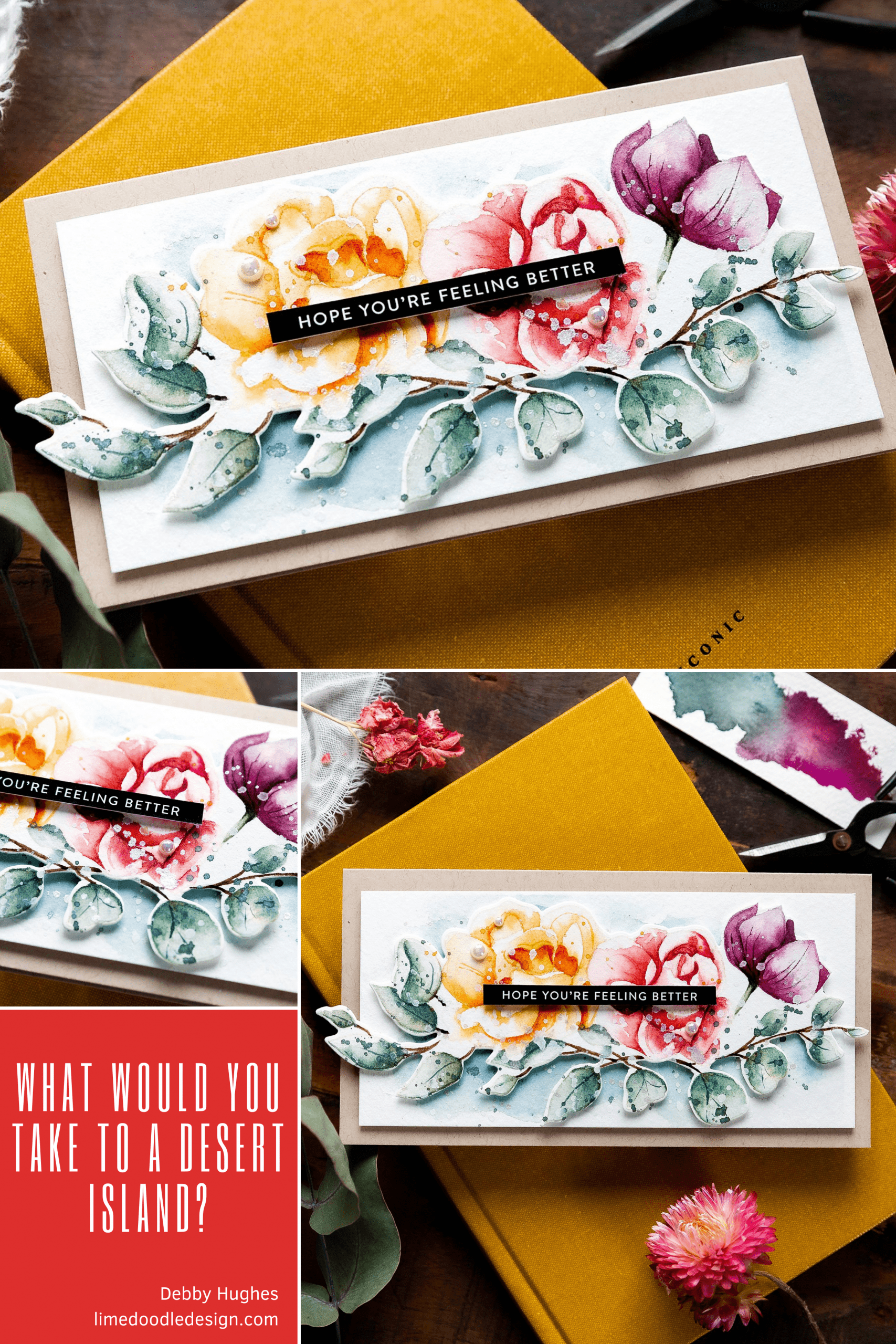 Video tutorial watercoloured spring bouquet and also talking about what I would take to a desert island! Design by Debby Hughes using supplies from Simon Says Stamp #handmadecards #cardmaking #cardmakingideas #cardmakingtechniques  #cardmakingtutorials #handmadecardideas #simonsaysstamp