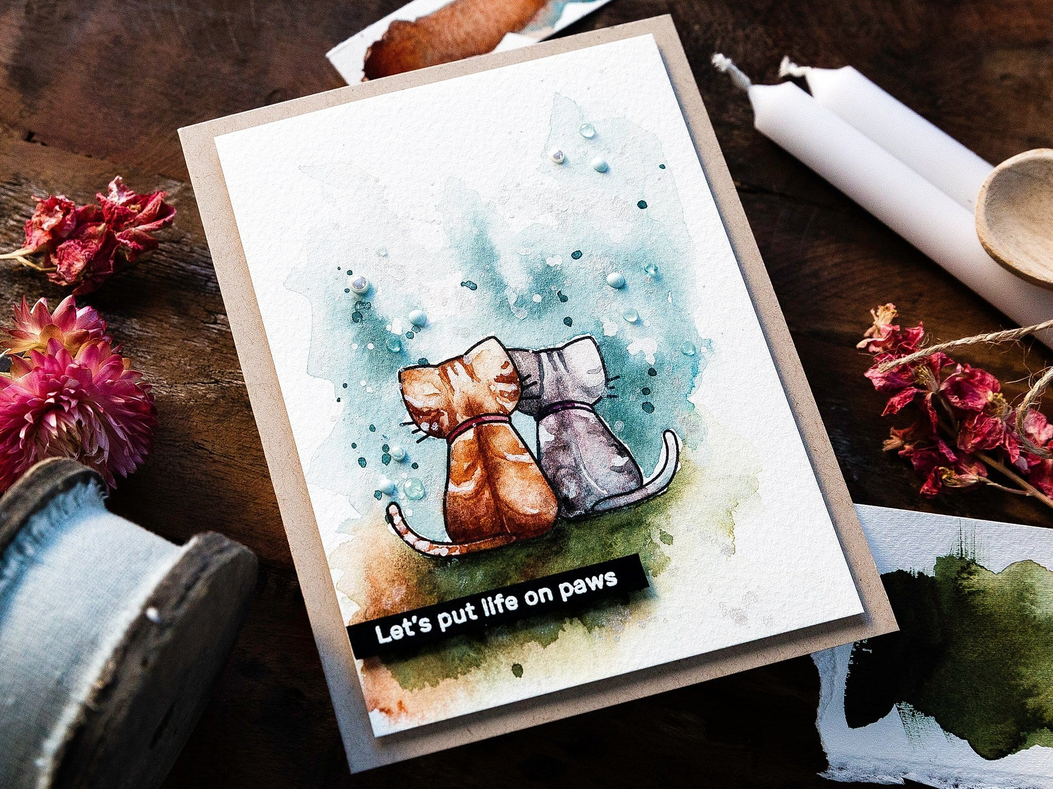Video tutorial - watercoloured simple scene. Handmade card by Debby Hughes #debbyhughes #limedoodledesign #handmadecards #cardmaking #cardmakingideas #cardmakingtechniques  #cardmakingtutorials #handmadecardideas #simonsaysstamp