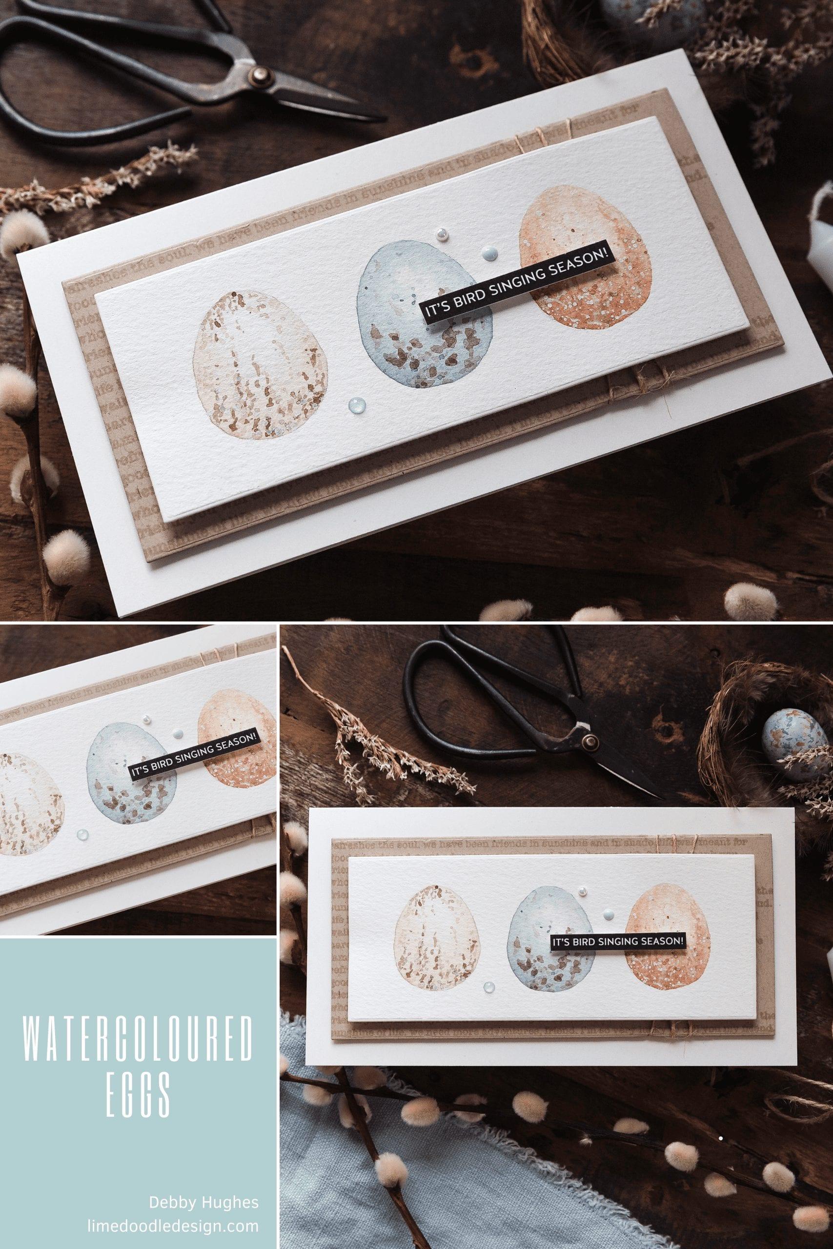 Video tutorial - watercoloured spring eggs. Handmade card by Debby Hughes #debbyhughes #limedoodledesign #handmadecards #cardmaking #cardmakingideas #cardmakingtechniques  #cardmakingtutorials #handmadecardideas #simonsaysstamp