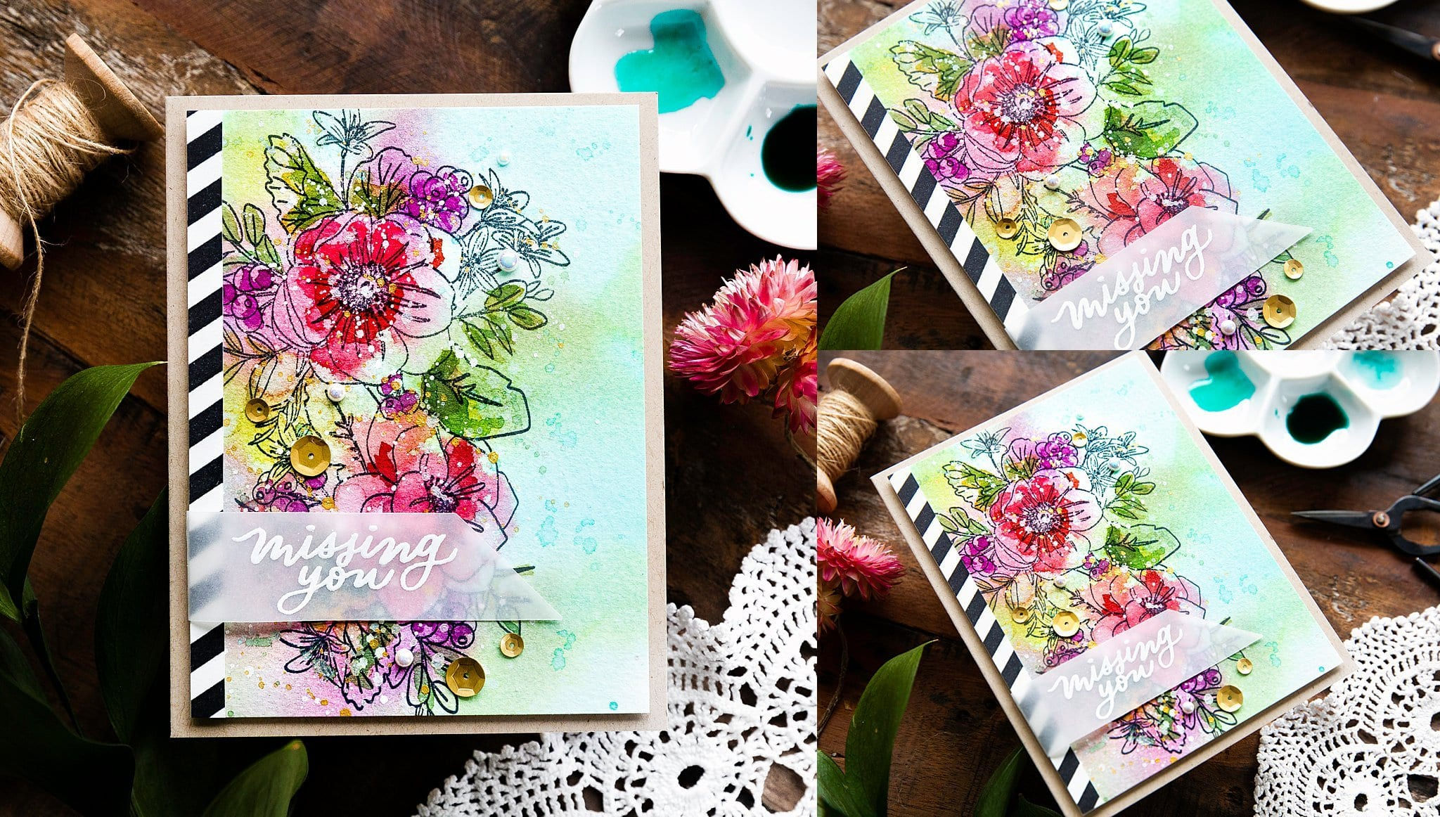 Video tutorial - handmade card by Debby Hughes inspired by Kristina Werner. Loosely watercoloured flower floral bouquet #debbyhughes #limedoodledesign #handmadecards #cardmaking #cardmakingideas #cardmakingtechniques  #cardmakingtutorials #handmadecardideas #simonsaysstamp