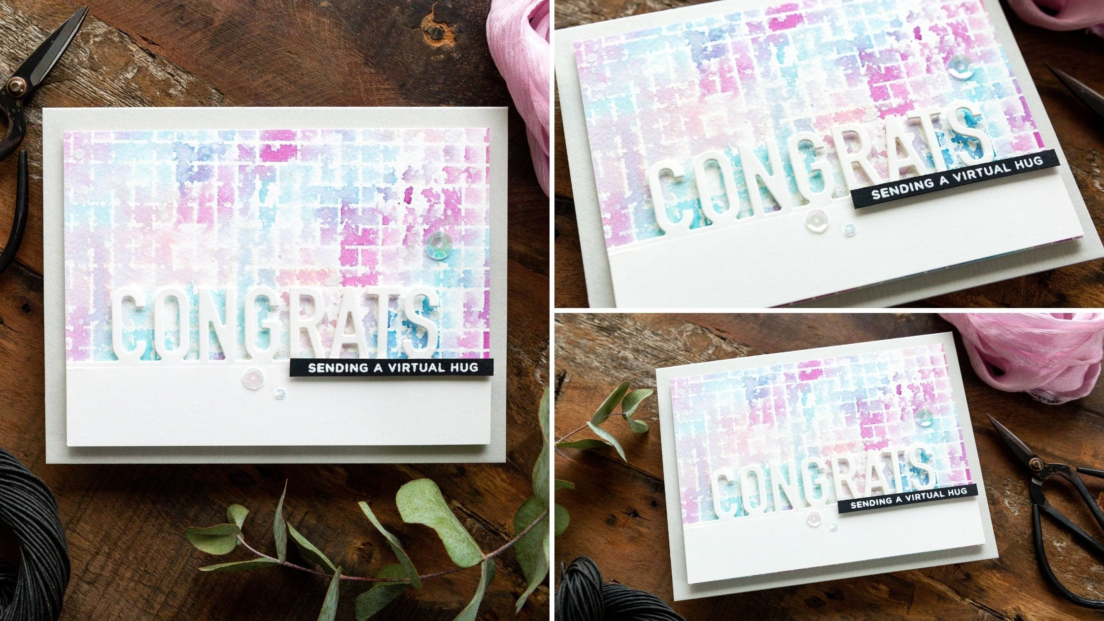 Video tutorial - faux watercolour generational stamping. Handmade card by Debby Hughes inspired by Laura Bassen using supplies from Simon Says Stamp