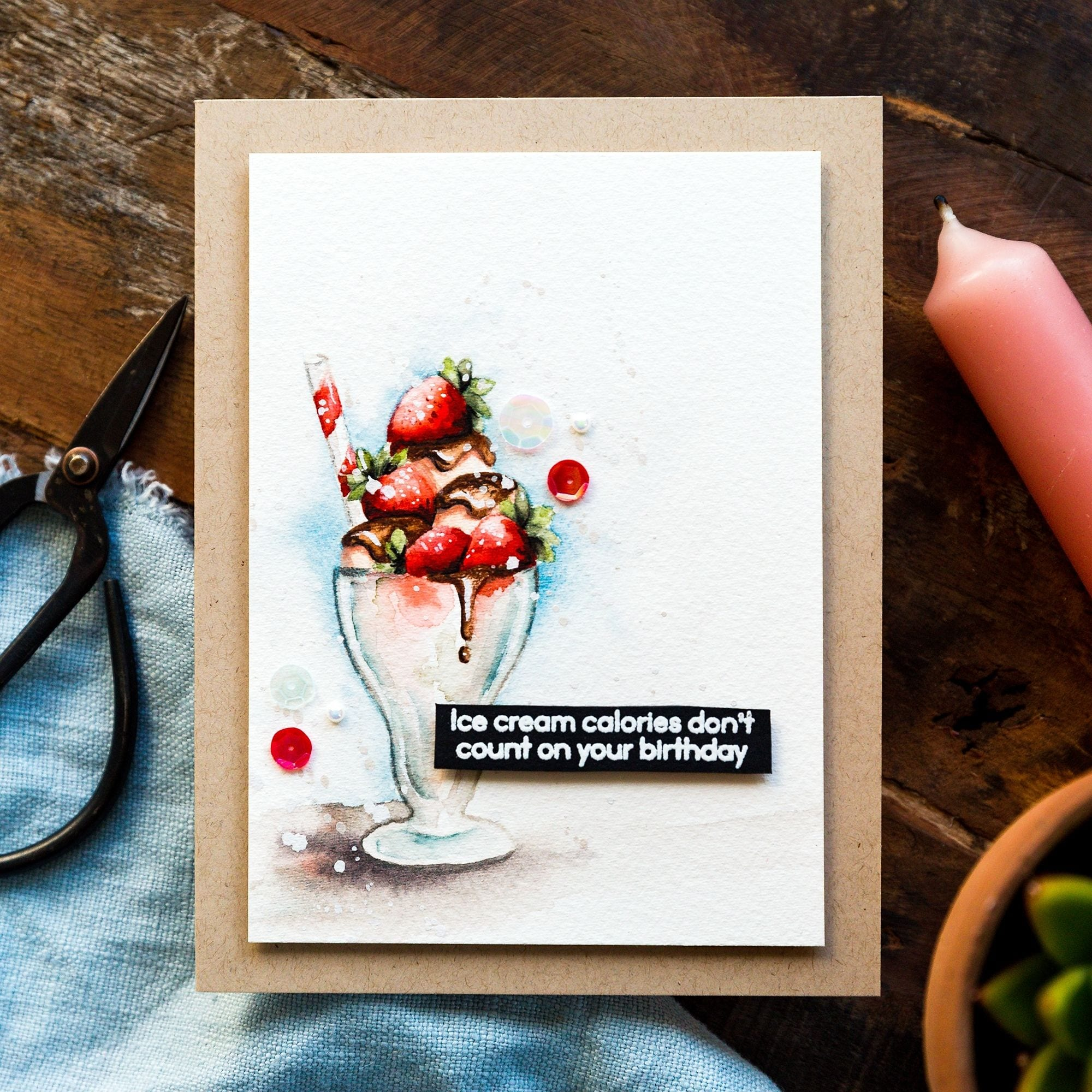Video tutorial - working through the ugly phase of a watercolour painting of an ice cream sundae. Handmade card by Debby Hughes #debbyhughes #limedoodledesign #handmadecards #cardmaking #cardmakingideas #cardmakingtechniques  #cardmakingtutorials #handmadecardideas #simonsaysstamp