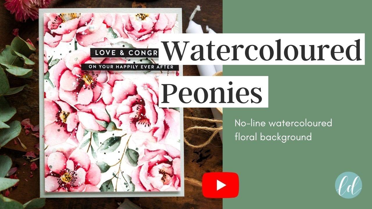 Video tutorial - watercoloured peonies. Handmade thank you Magnolia card by Debby Hughes #debbyhughes #limedoodledesign #handmadecards #cardmaking #cardmakingideas #cardmakingtechniques  #cardmakingtutorials #handmadecardideas #simonsaysstamp