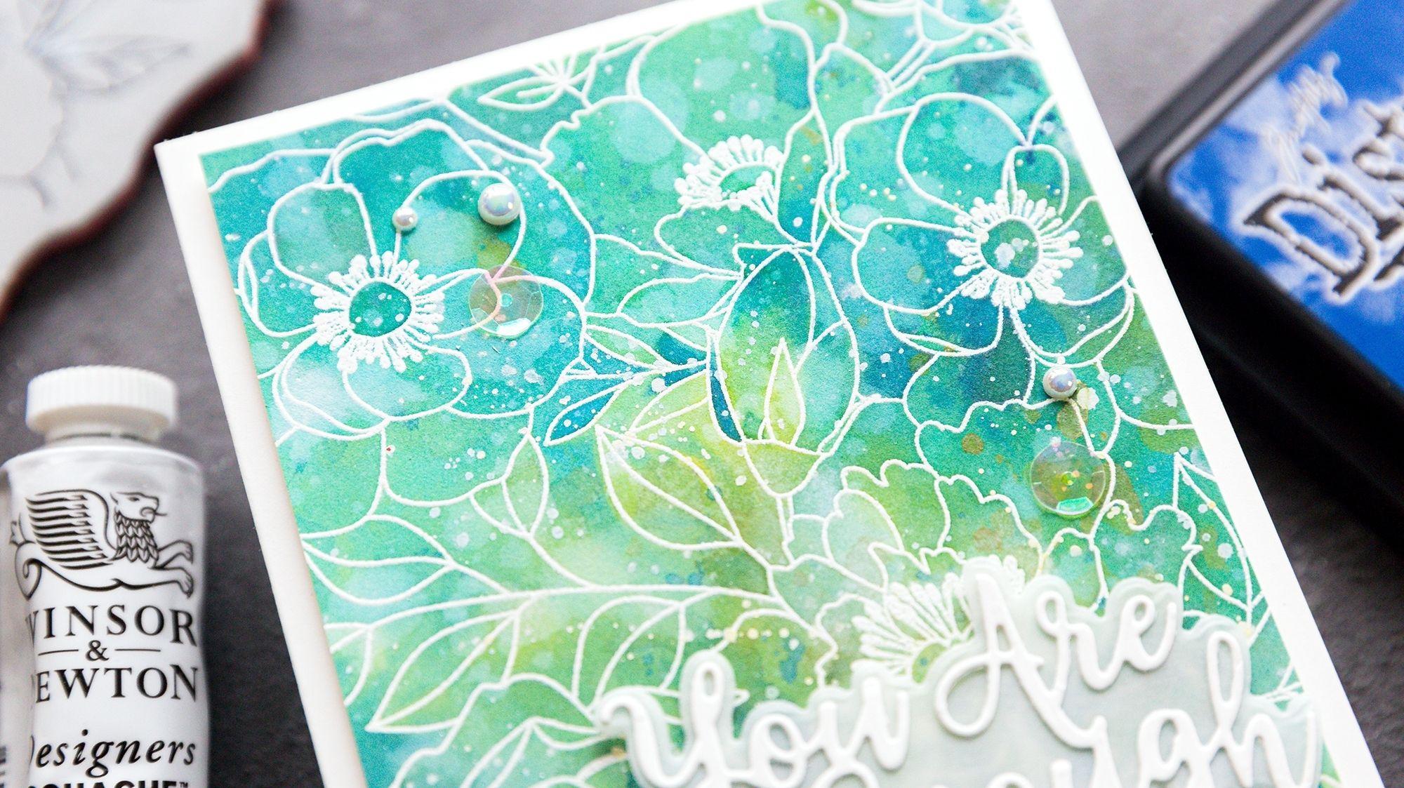 Video tutorial - watercoloured peonies, handmade cat card by Debby Hughes #handmadecards #cardmaking #cardmakingideas #cardmakingtechniques  #cardmakingtutorials #handmadecardideas