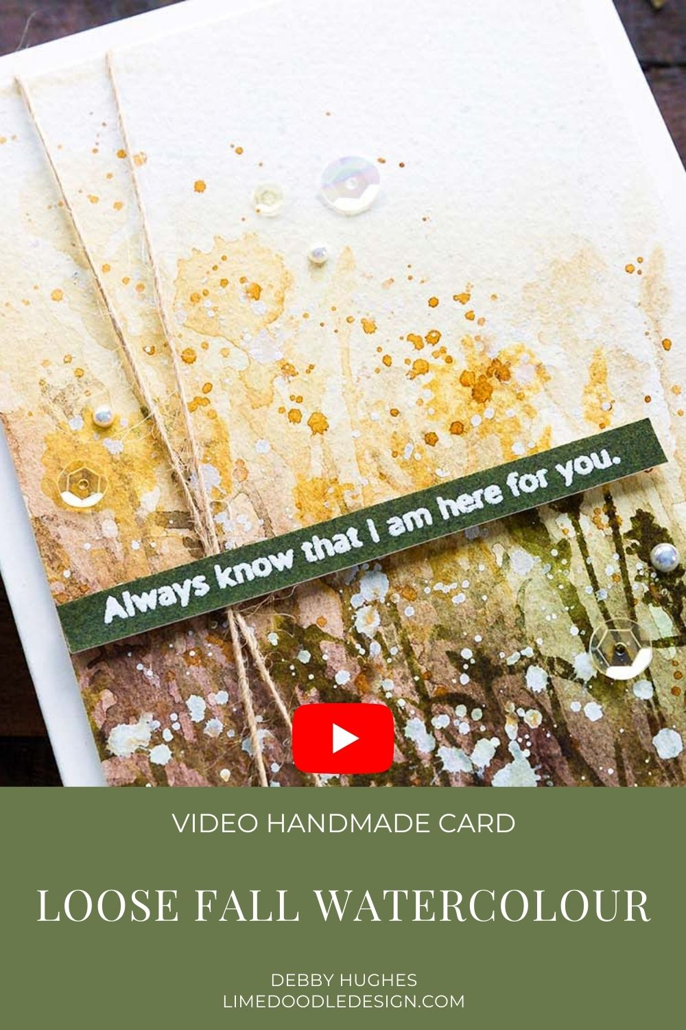 Video tutorial - loose fall watercolour handmade card by Debby Hughes using supplies from Simon Says Stamp #handmadecards #cardmaking #cardmakingideas #cardmakingtechniques  #cardmakingtutorials #handmadecardideas #czdesign #simonsaysstamp