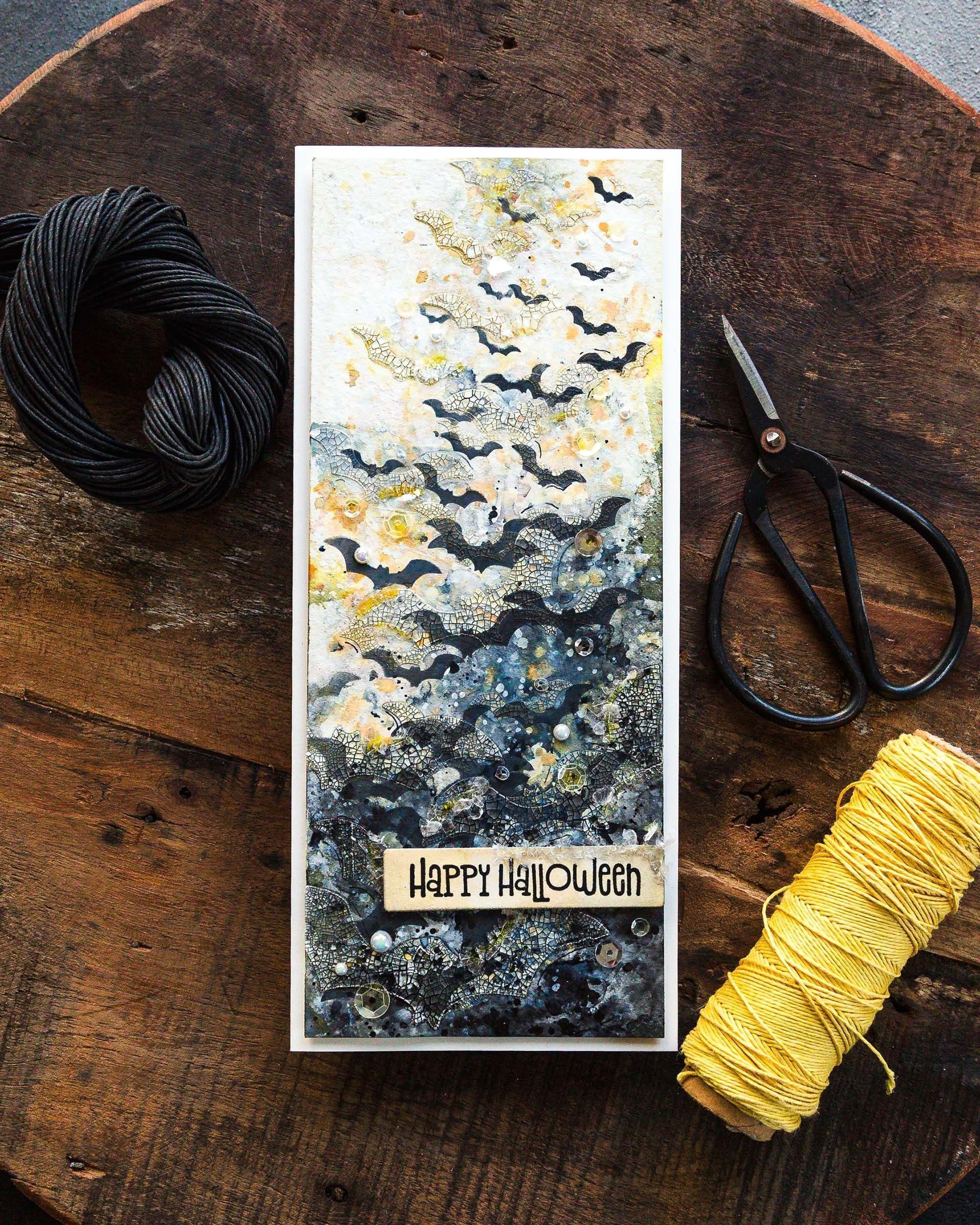 Layered, crackly bats! Handmade Halloween card design by Debby Hughes.