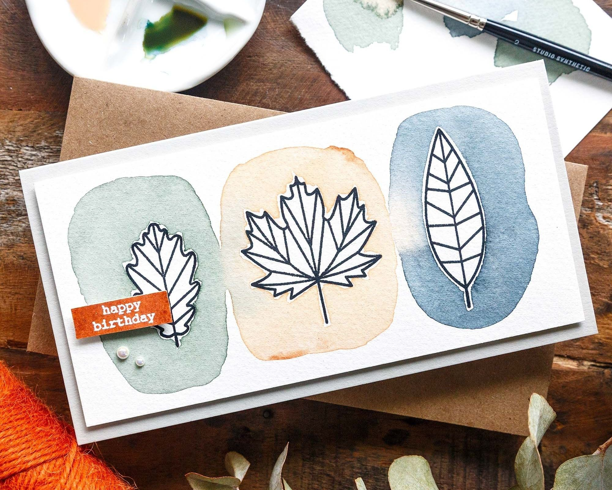 Modern Leaf Watercolour + STAMPtember Blog Party