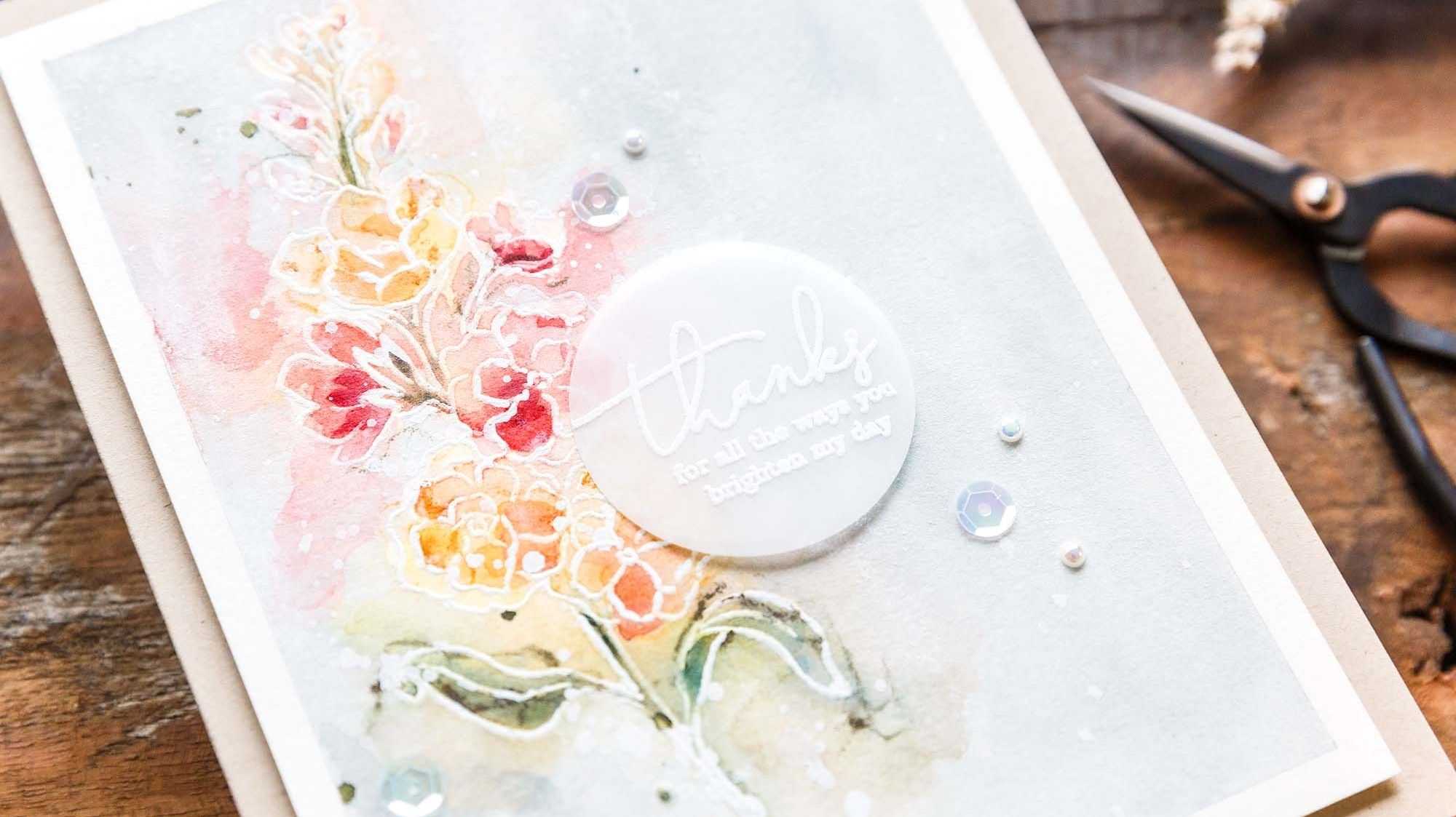 LIght & airy with PinkFresh STAMPtember stamp set. Handmade card design by Debby Hughes.
