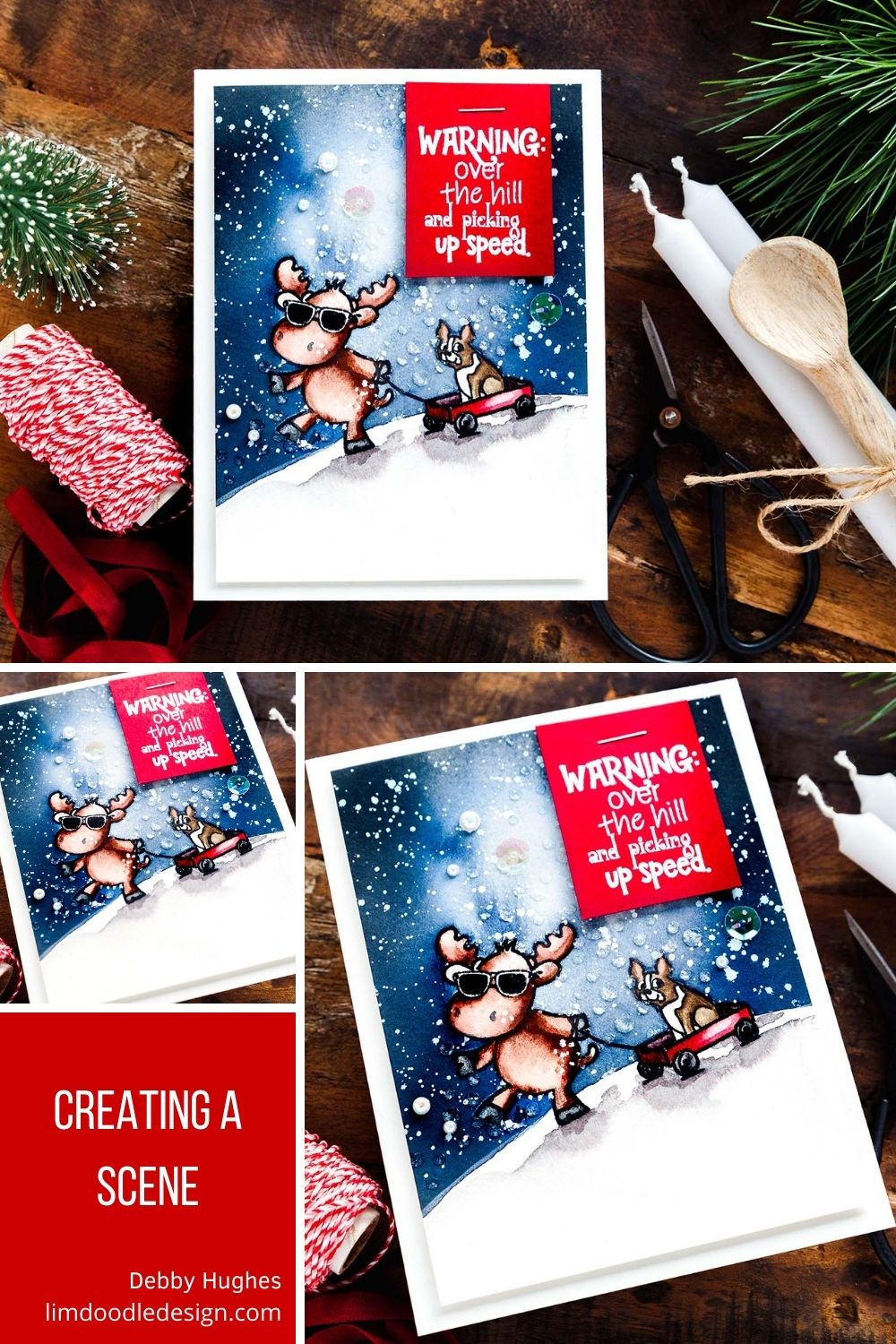 Creating a winter scene with the Riley & Co STAMPtember exclusive, limited edition set. Handmade card designs by Debby Hughes.