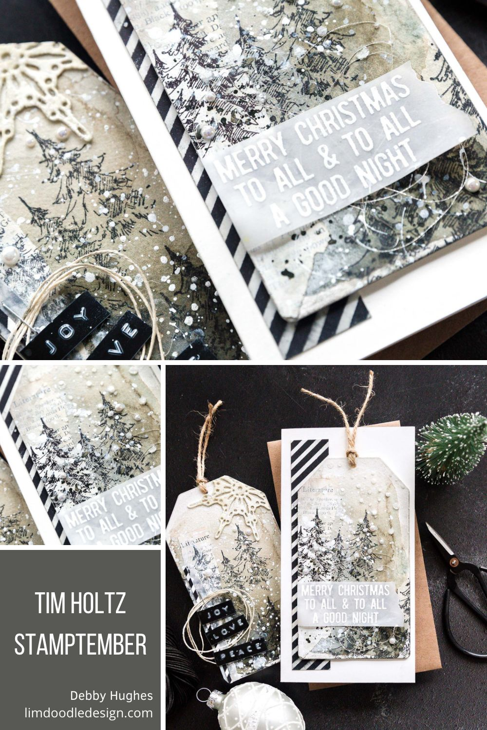 Cards and tags using the Tim Holtz exclusive, limited edition STAMPtember 2021 set. Handmade card & tag designs by Debby Hughes.