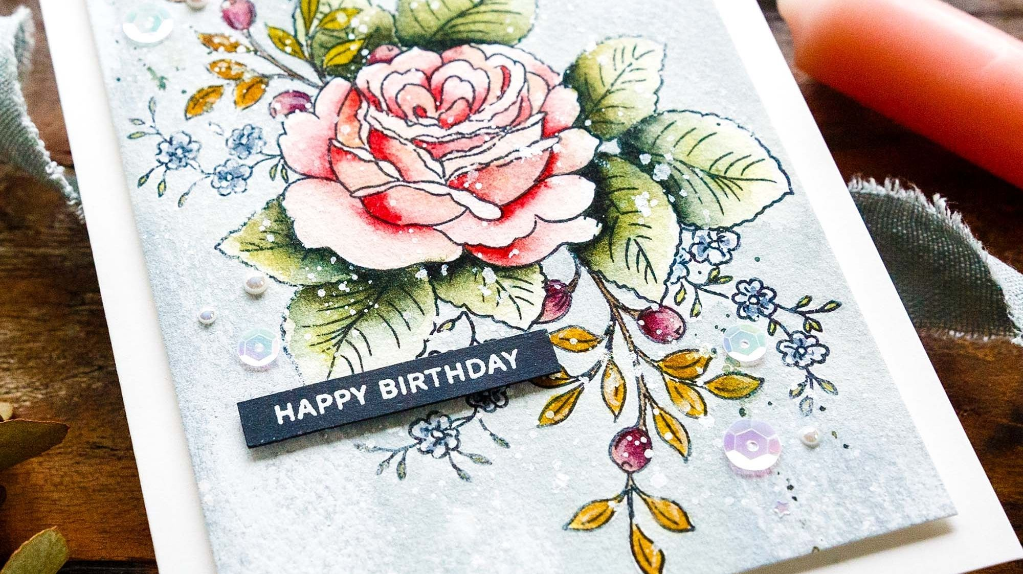 Building a floral bouquet with Altenew's STAMPtember set. Handmade card design by Debby Hughes.