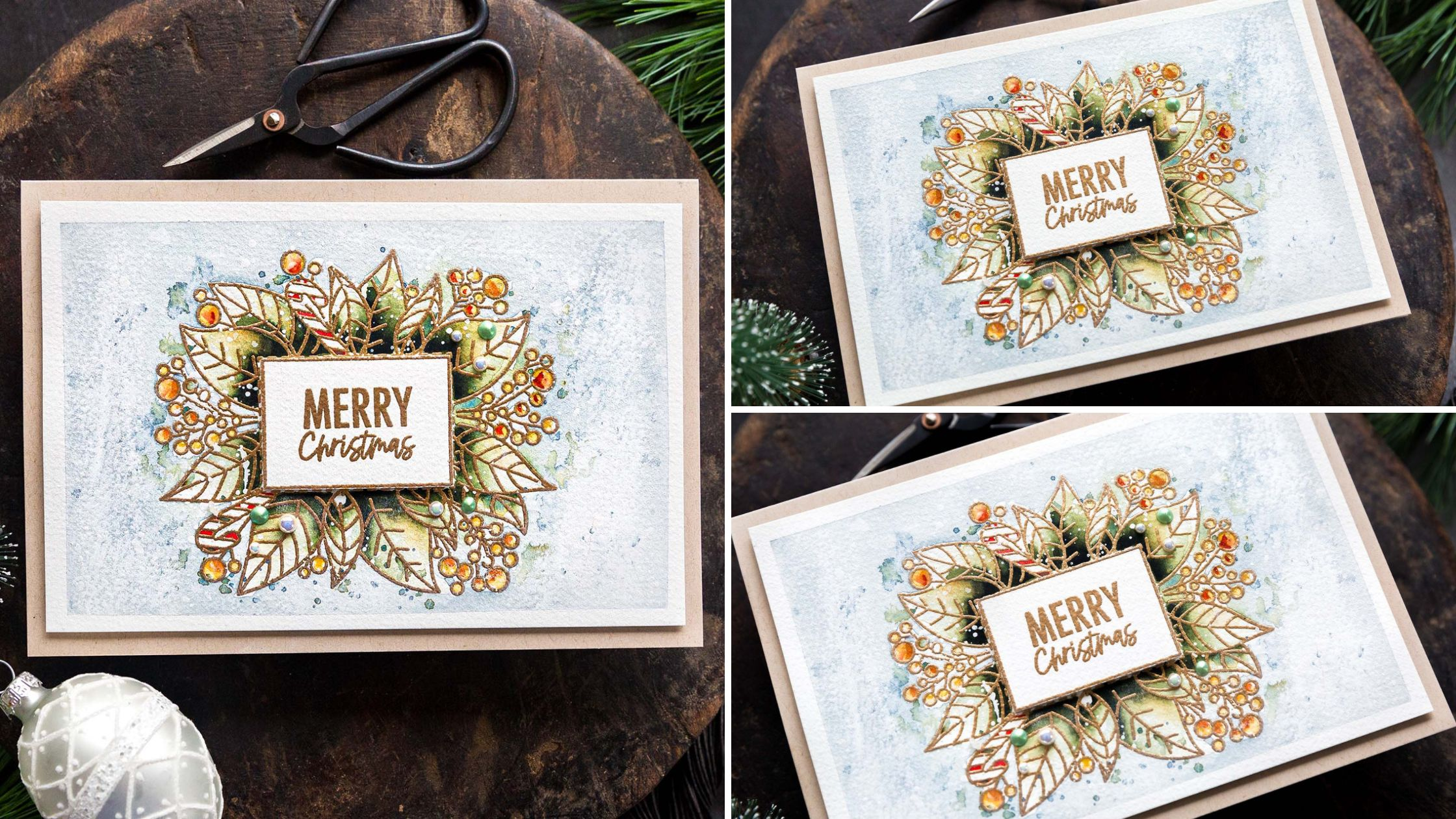 Simply classic Avery Elle STAMPtember set which made watercolouring these poinsettias so easy! Handmade card design by Debby Hughes.