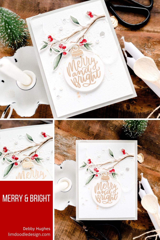 Merry & Bright Christmas Ornament. Handmade card design by Debby Hughes.